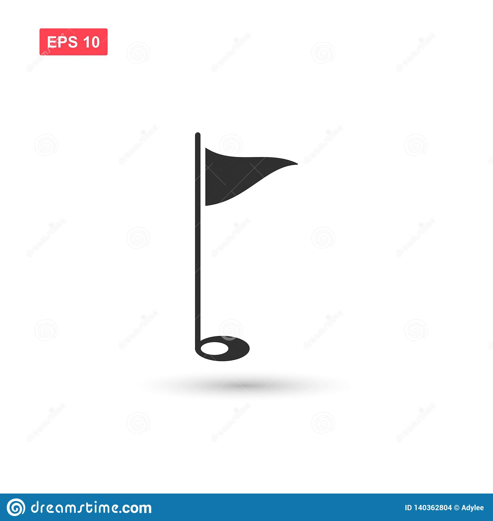 Golf flag icon vector isolated 3
