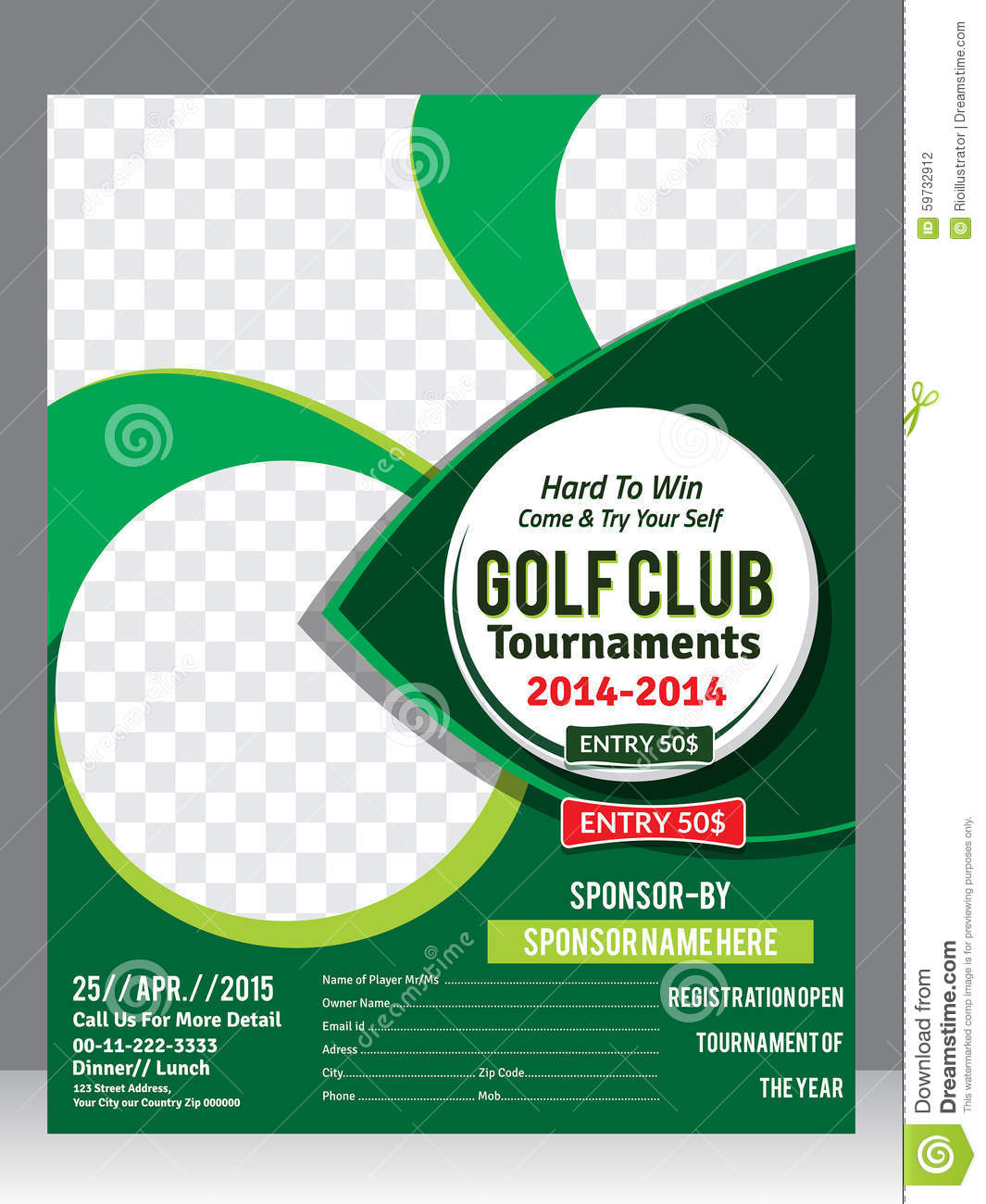 Golf Flyer Template Magazine Design Stock Vector Illustration Of
