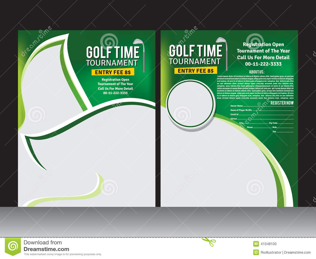 Golf flyer template stock vector illustration of for Golf brochure template