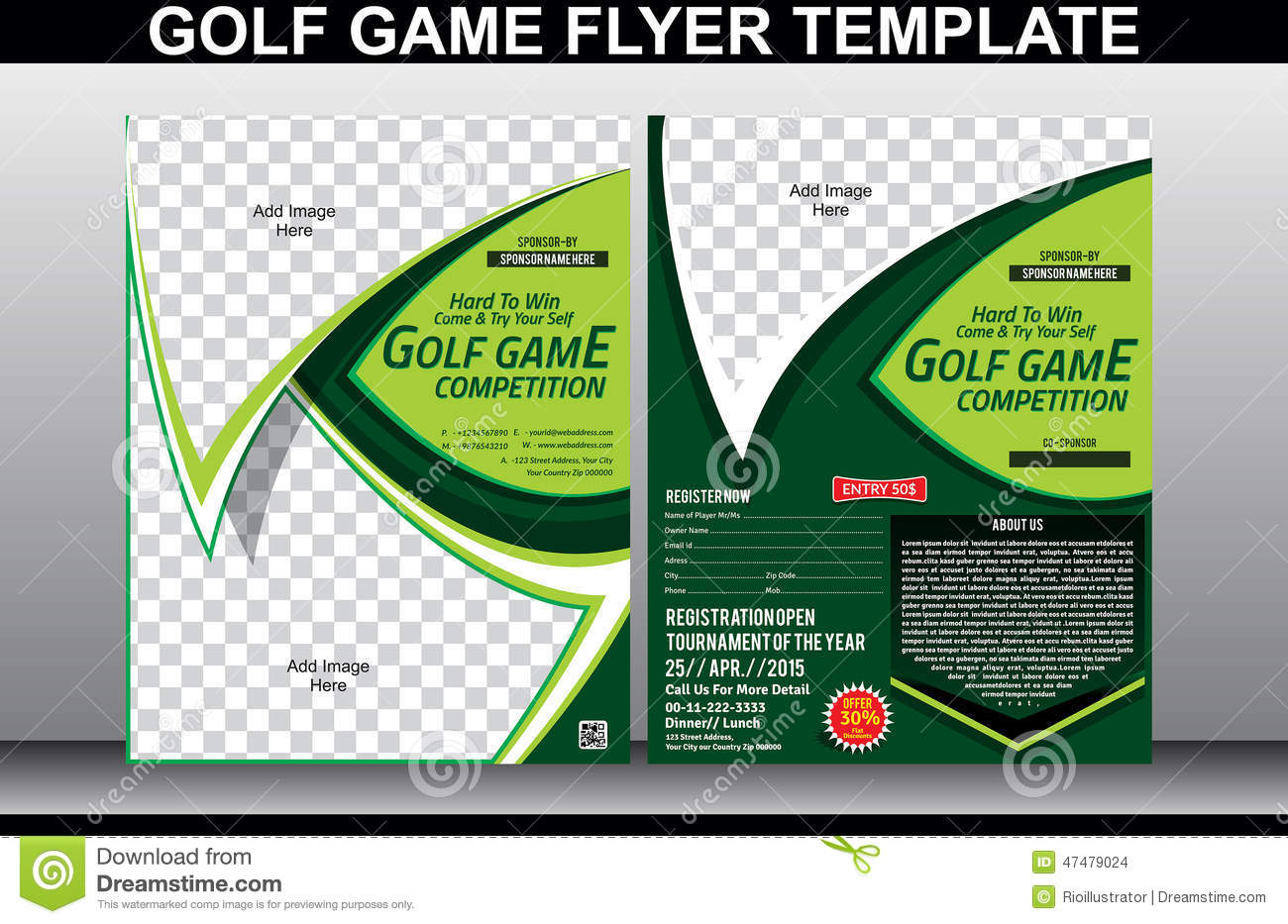 golf brochure templates - golf game flyer and magazine cover template stock vector