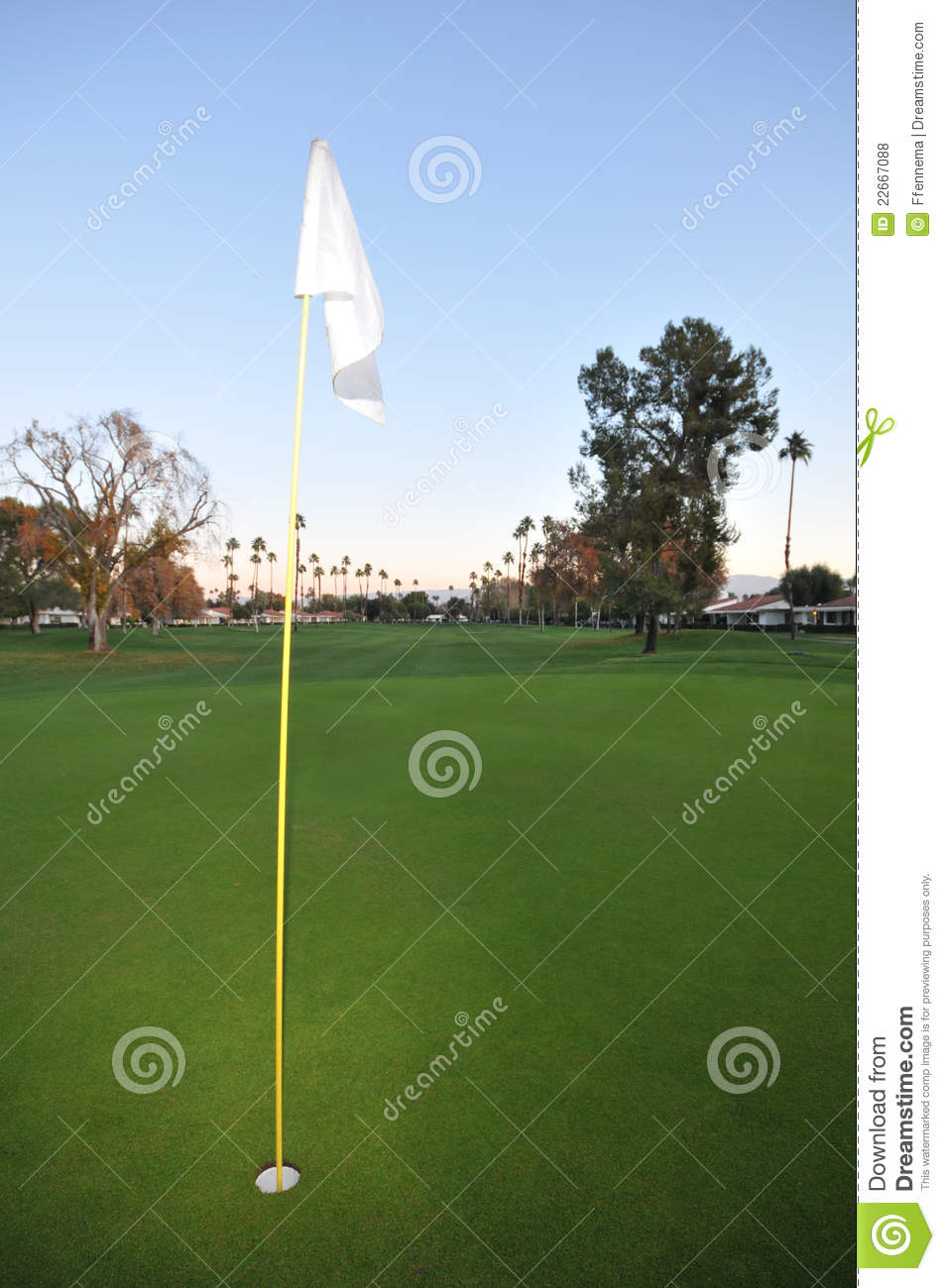 Golf Green With Pin Flag And Fairway Royalty Free Stock