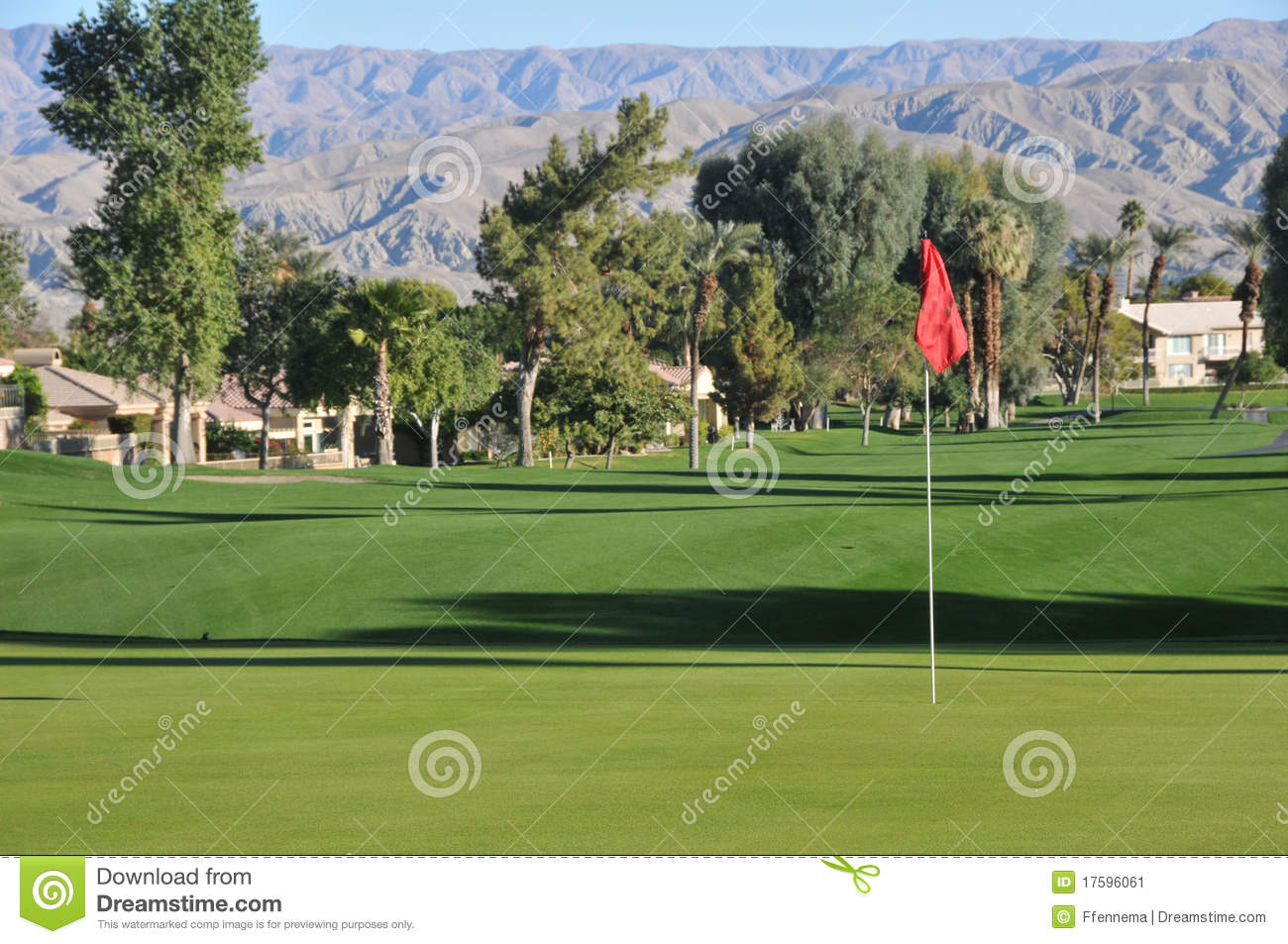 Golf Green With A Red Flag And Fairway Stock Image Image