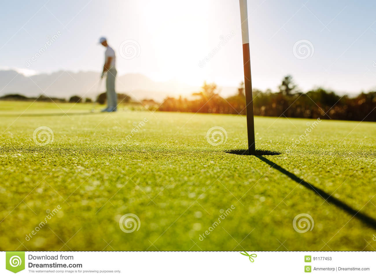 Golf hole and flag in the green field with golfer