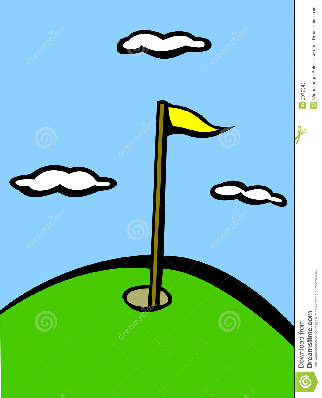 Golf hole flag vector illustration