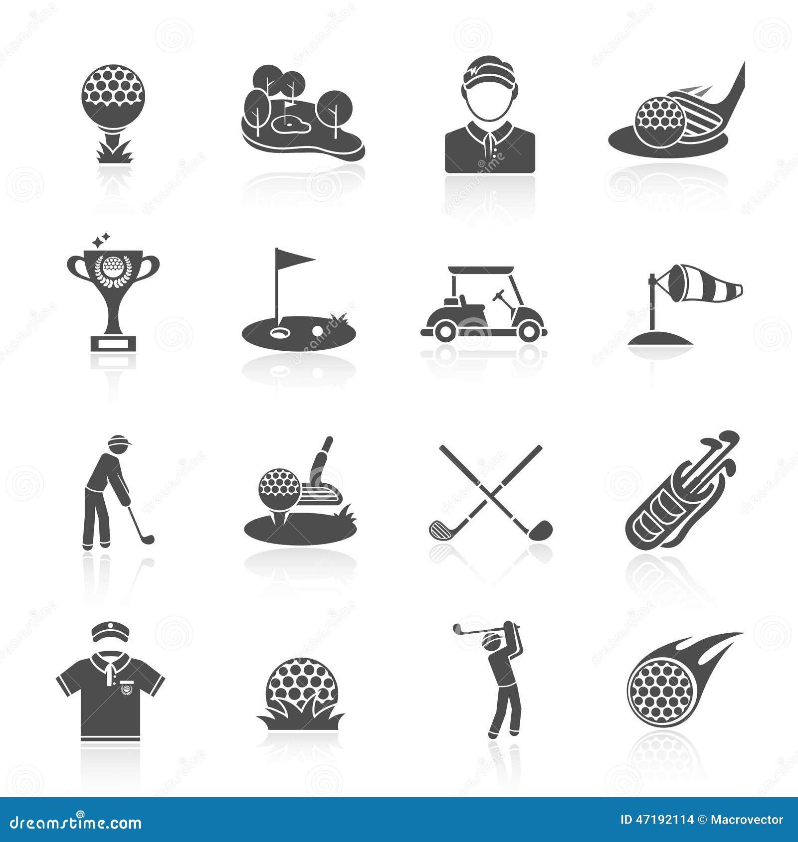 golf icons set black stock vector  illustration of ball