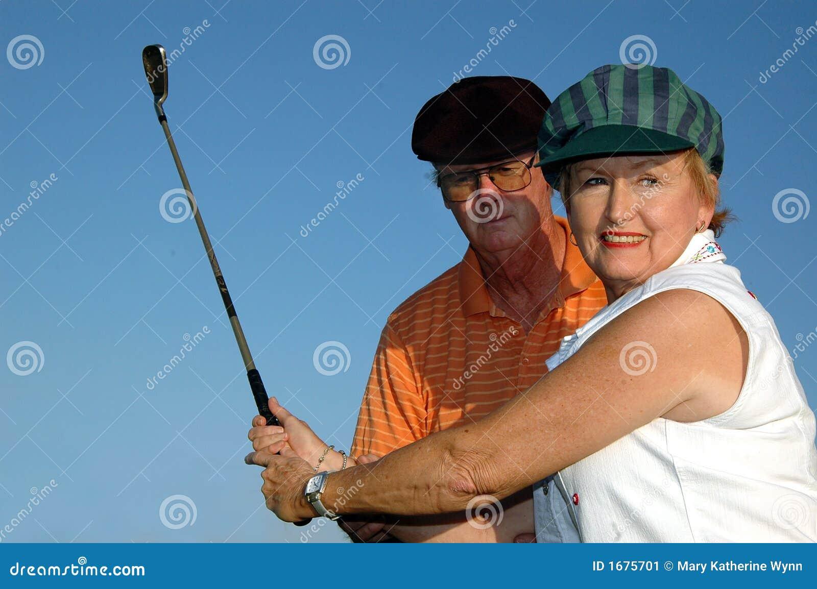 Golf lesson close-up