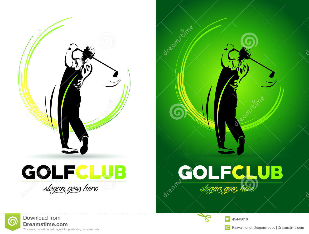 ... representing an abstract golf club player logo hitting the ball