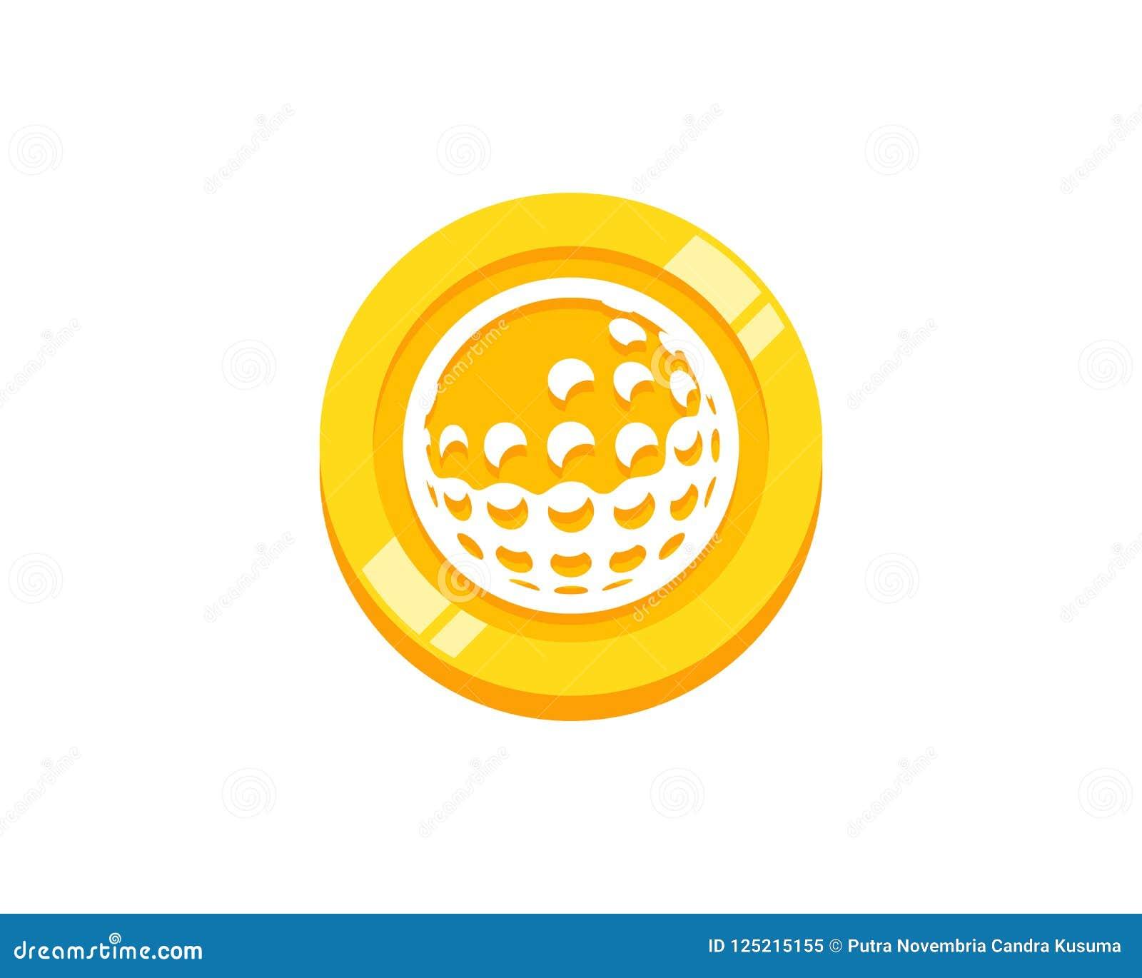 Golf-Münze Logo Icon Design