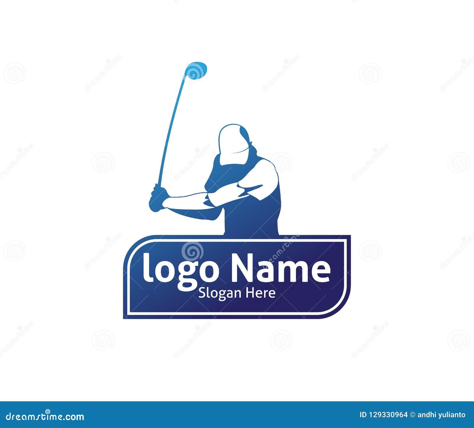 golf outdoor sport vector logo design inspiration a player hits the rh dreamstime com
