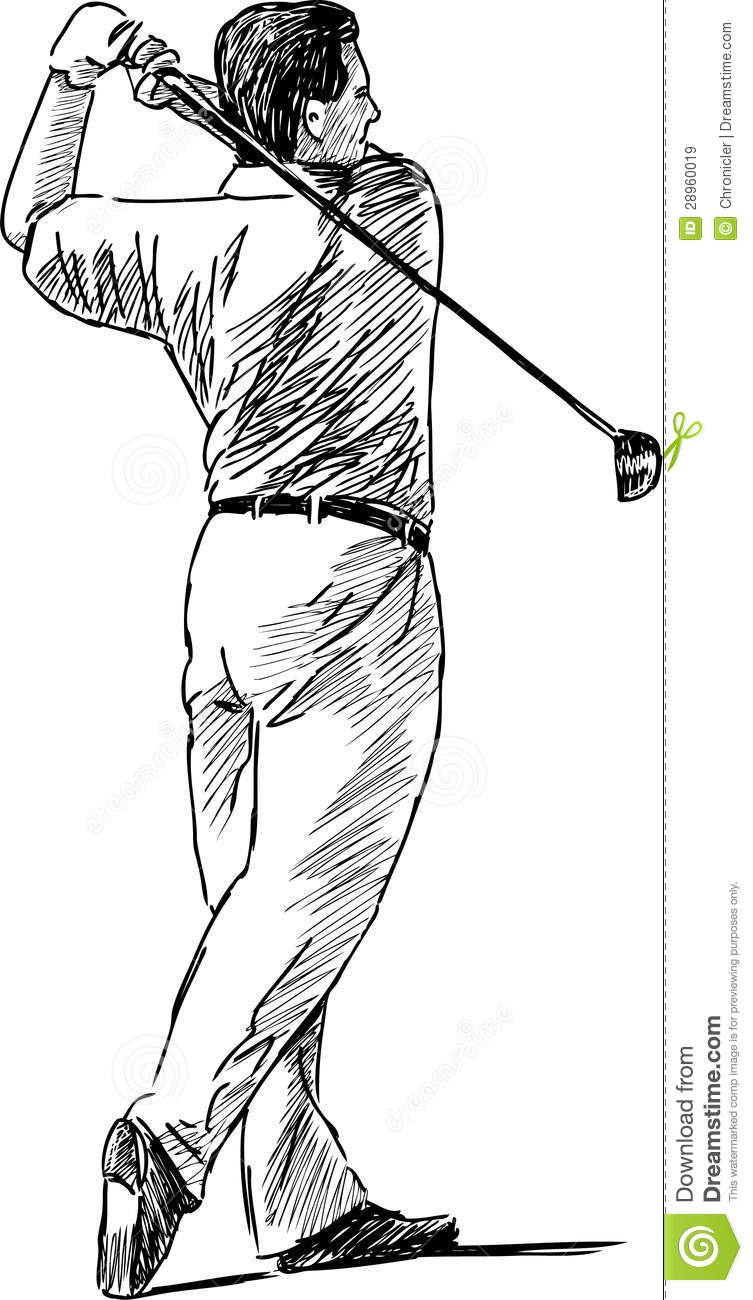 Vector Drawing Of The Person Playing Golf