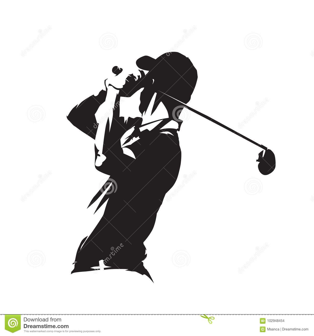 Golf player icon, golfer vector silhouette