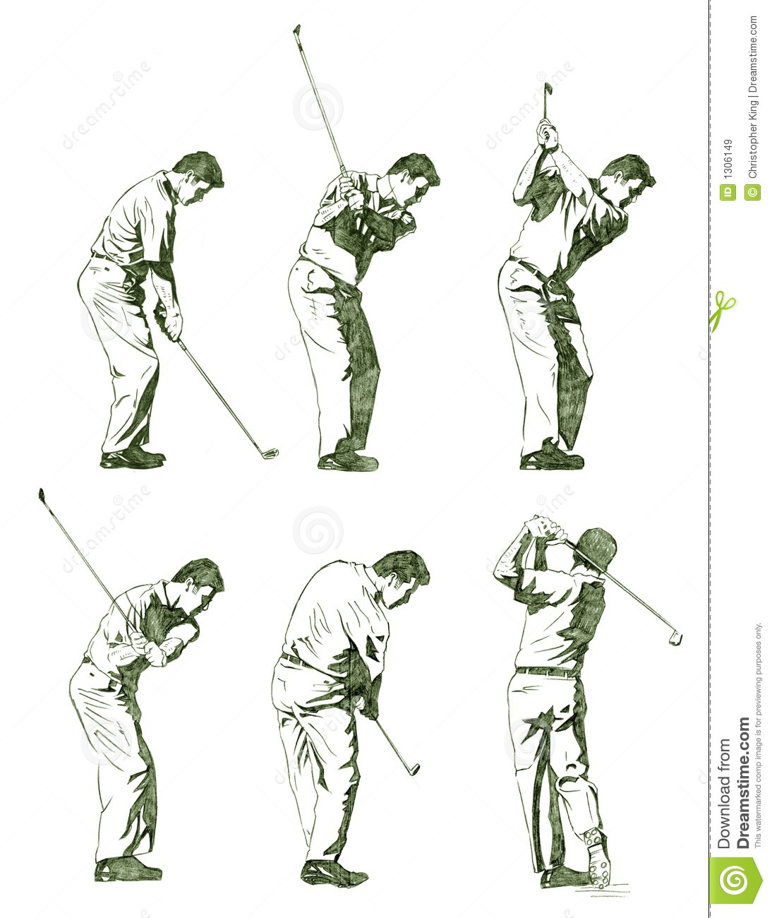 Golf Player Illustration Shown In Stages Stock Vector