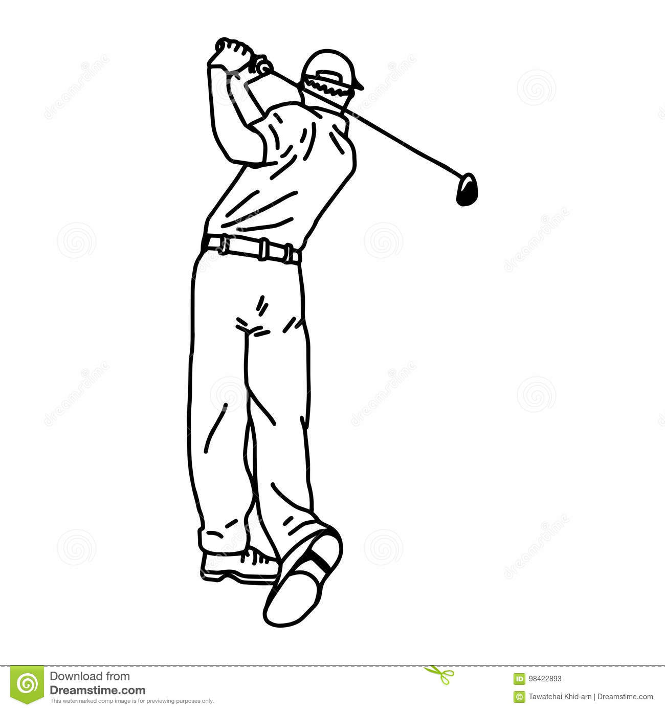 Golf Player - An Hand Drawn And Painted Illustration Stock