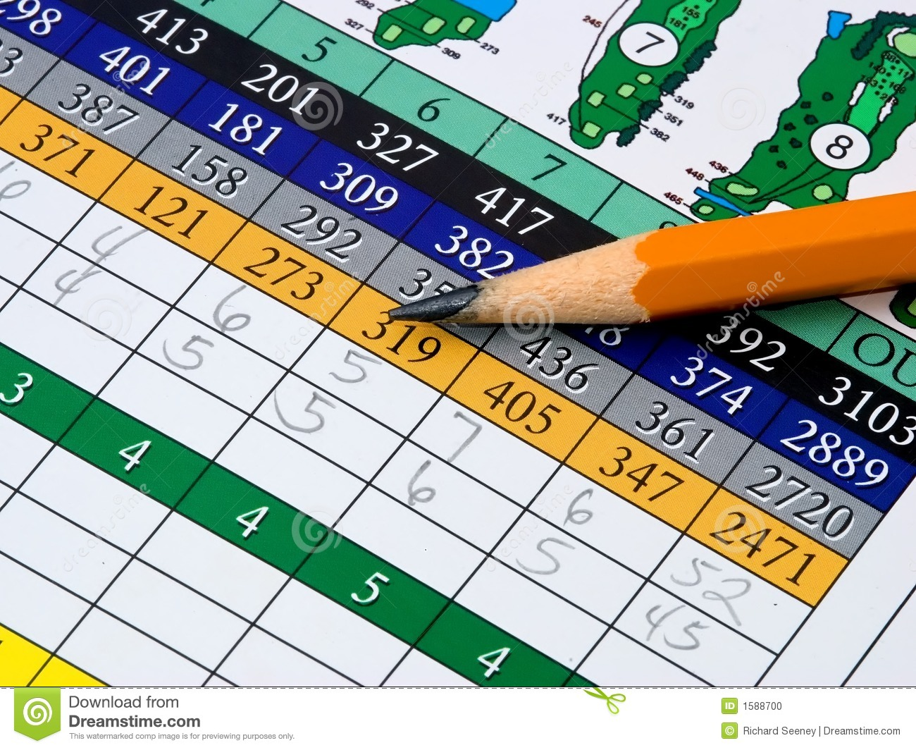 Golf Scorecard Stock Photo - Image: 1588700