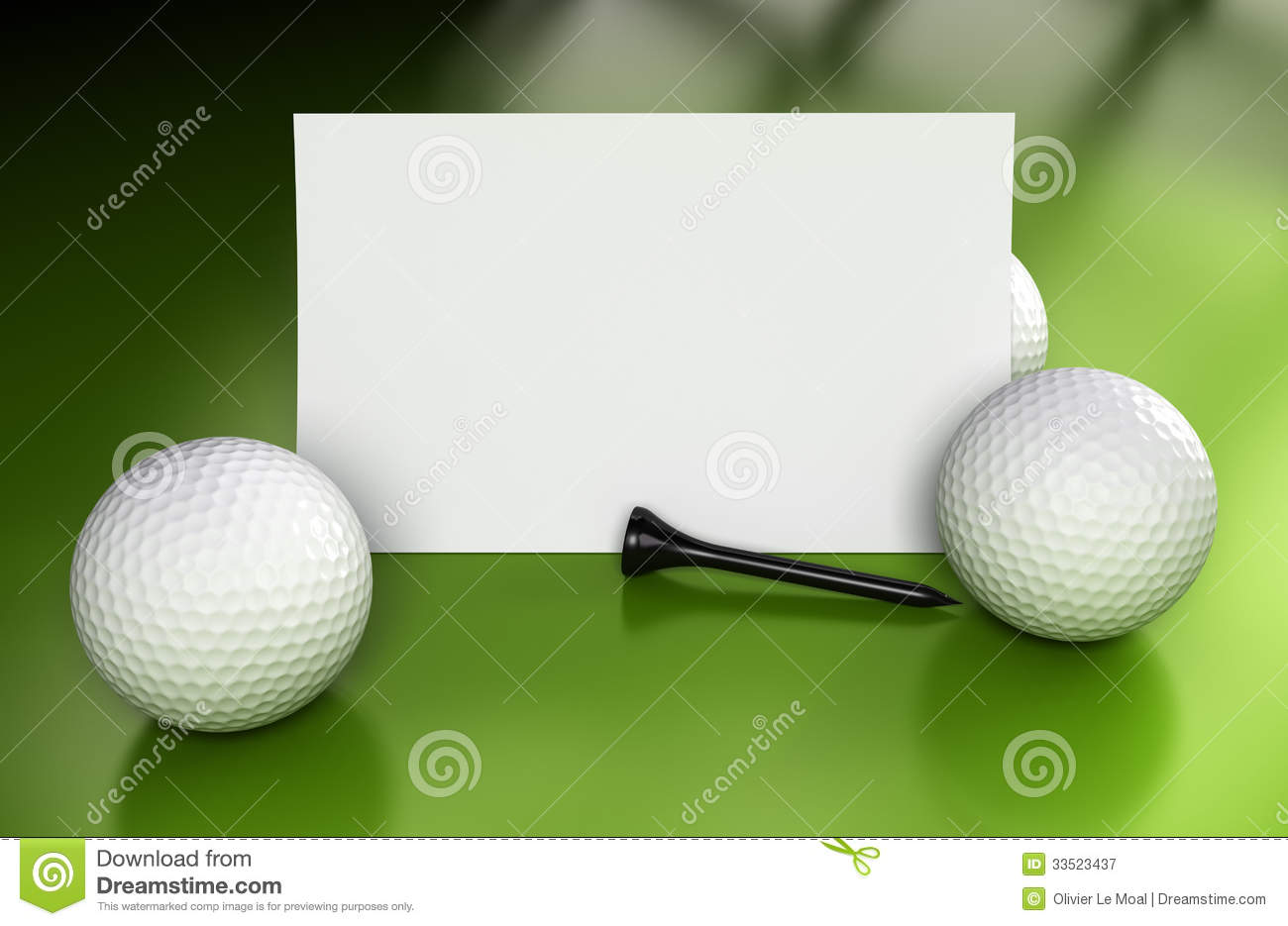 Golf sign or business card over green background with three balls and ...