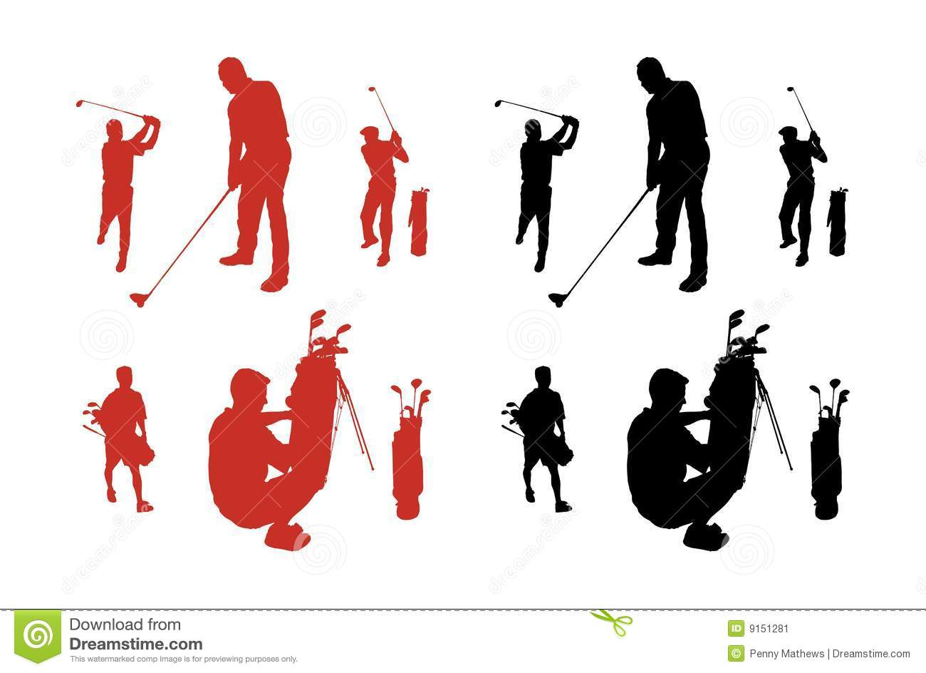 Golf Silhouettes Stock Vector Illustration Of Collection 9151281