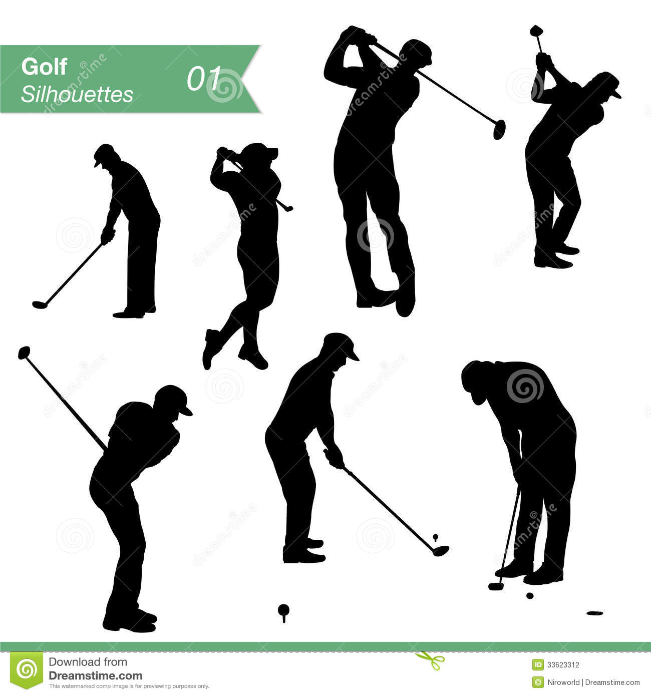 Golf Silhouettes Vector Set Stock Vector Illustration Of Male
