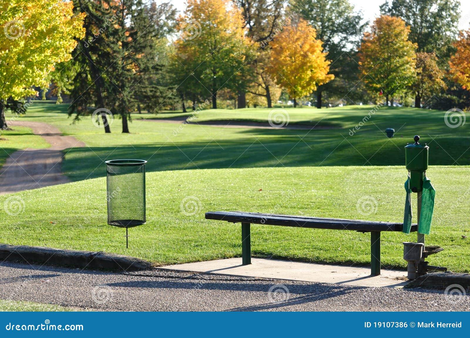Golf-Stück-Kasten und Bank