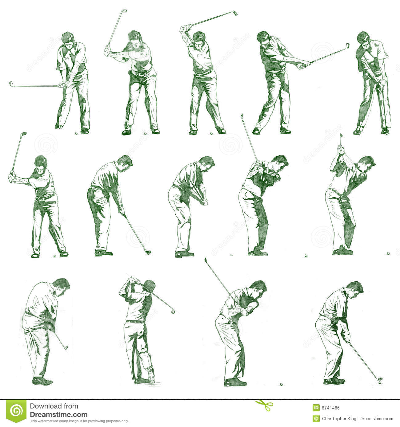 Golf Swing Stages Hand Drawn Illustration Royalty Free Stock Image ...