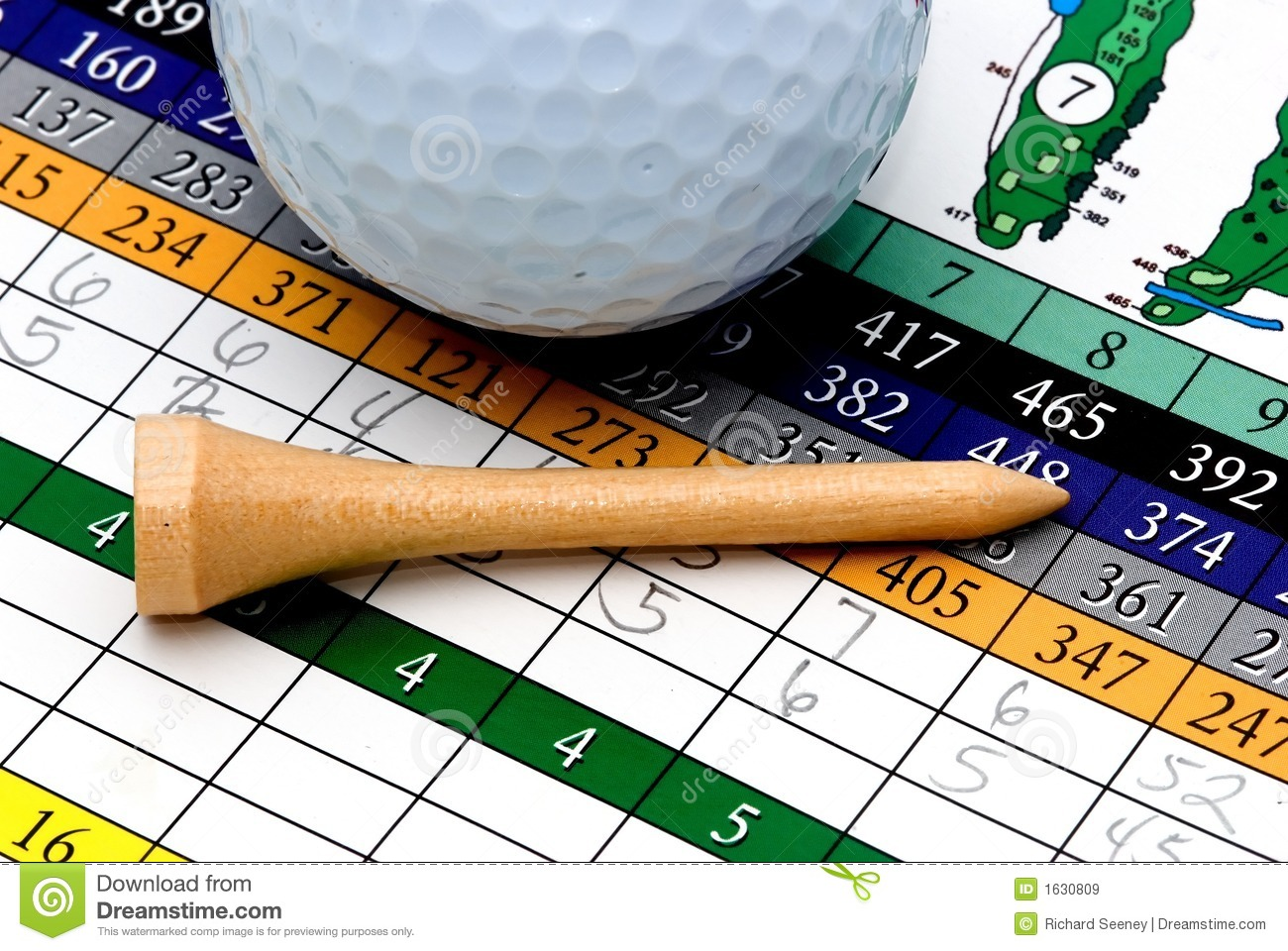 Golf Tee, Ball And Scorecard Royalty Free Stock Images ... Golf Ball On Tee Clipart