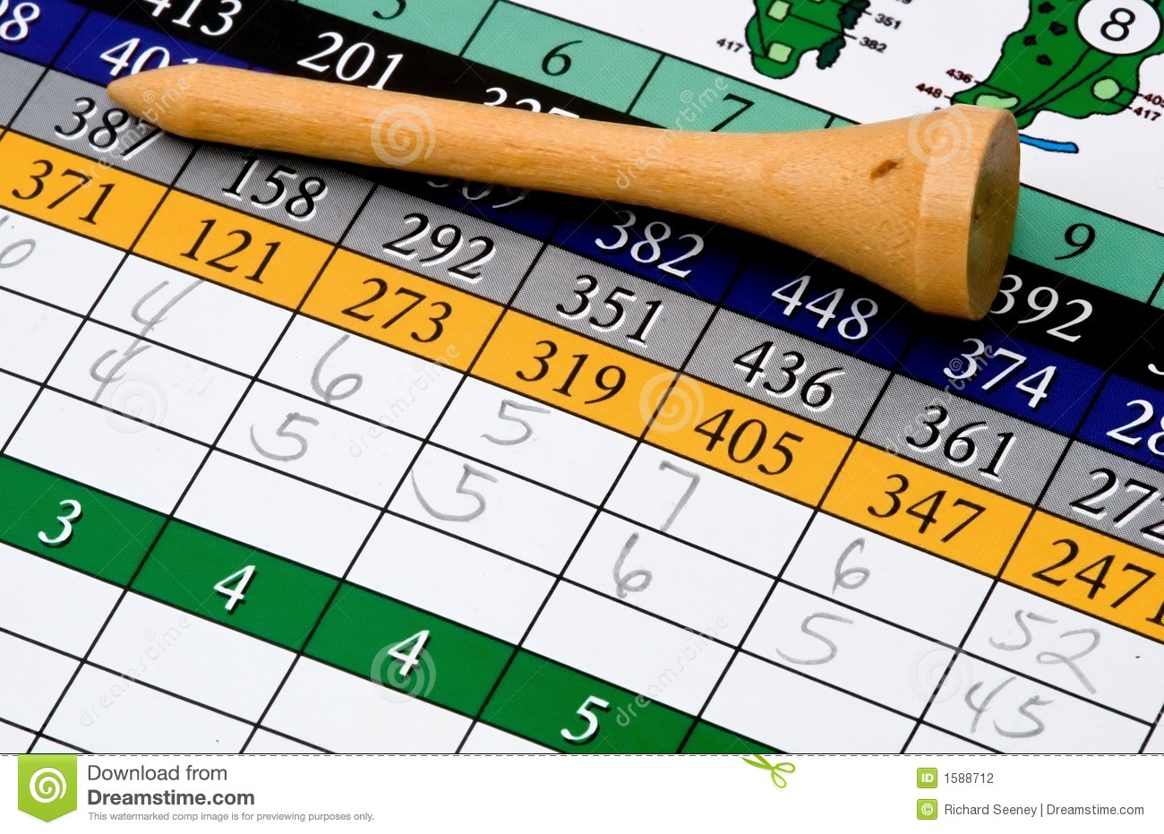 Golf Tee And Scorecard Stock Photography - Image: 1588712 Golf Ball On Tee Clipart