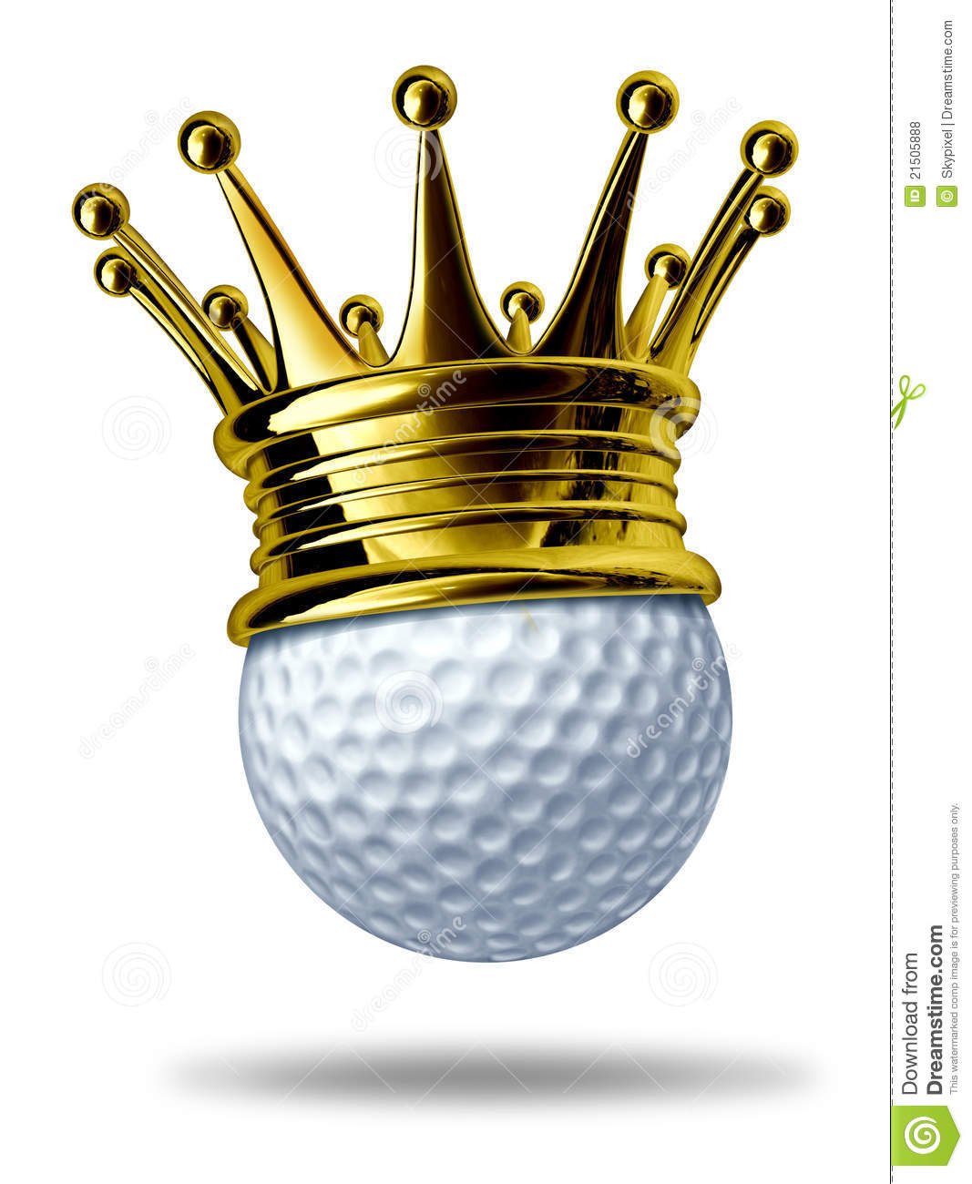 champion symbol represented by a white golf ball wearing a gold crown ...