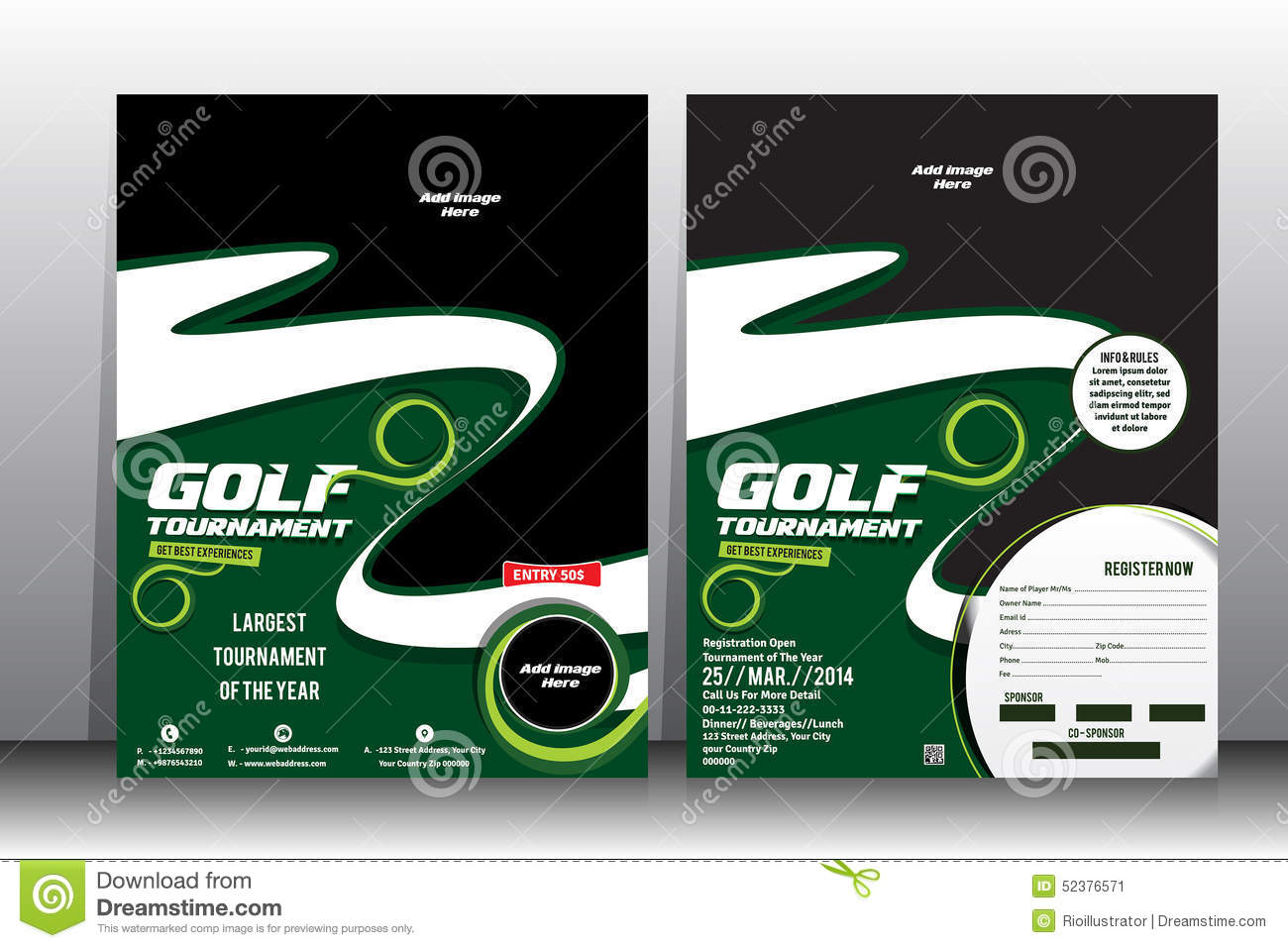 Royalty Free Vector. Download Golf Tournament Flyer U0026 Brochure Template ...