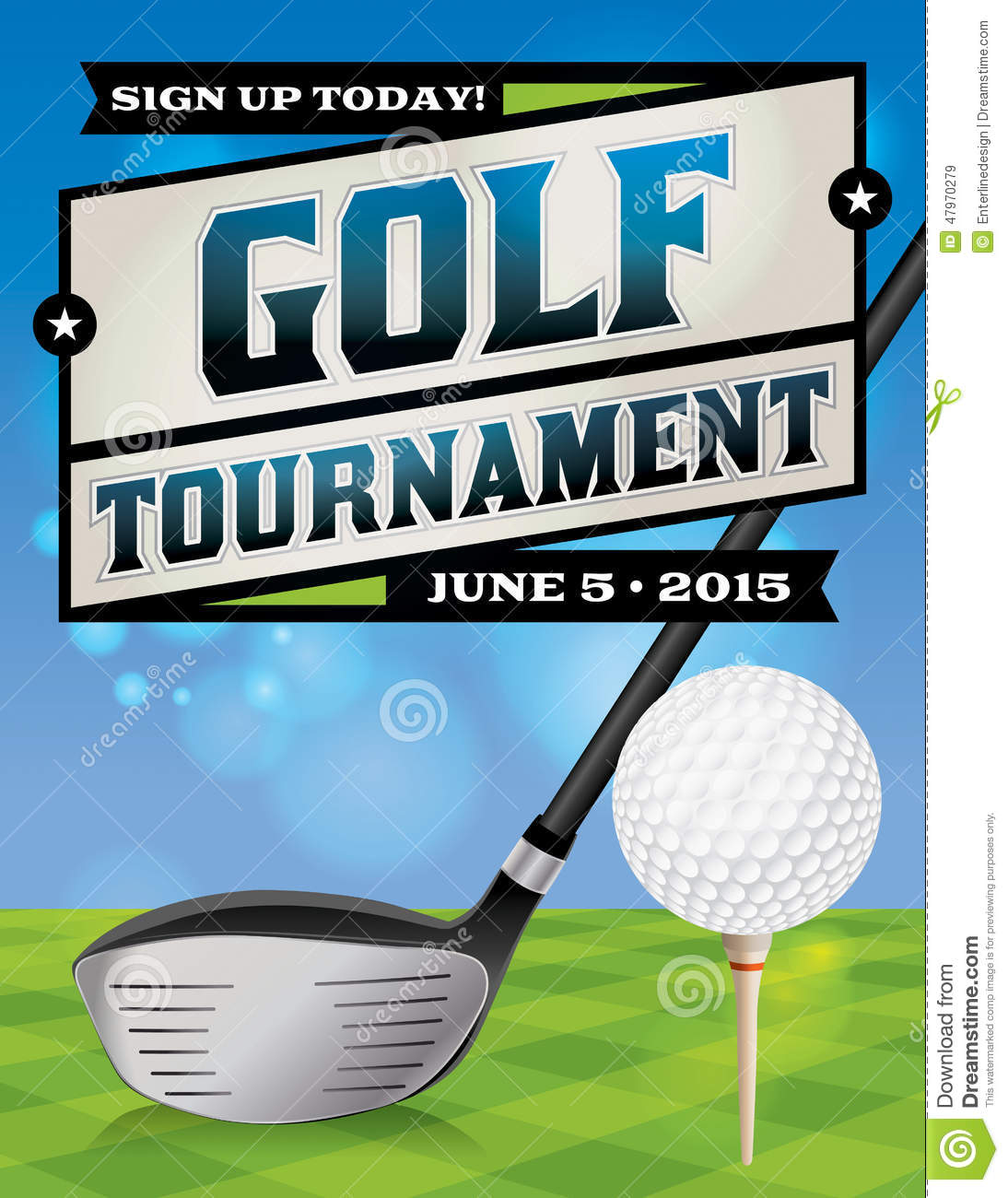 golf tournament flyer illustration stock vector image 47970279. Black Bedroom Furniture Sets. Home Design Ideas