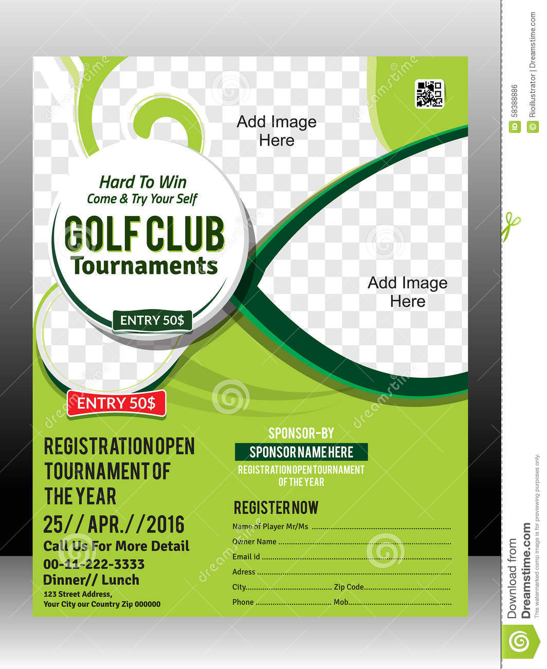 Lovely Golf Tournament Flyer Template Design Illustration