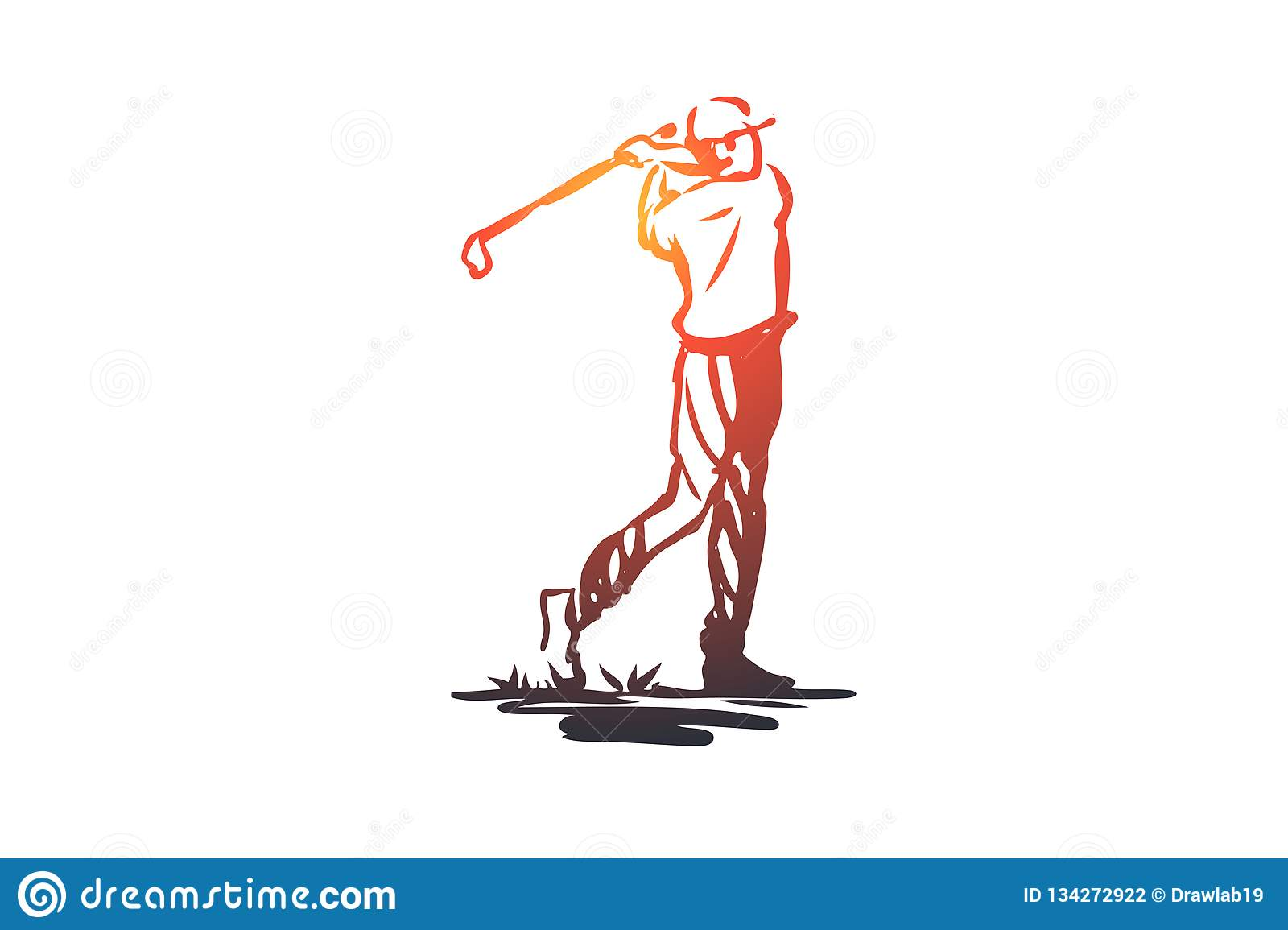 Golf, tournament, game, sport, golfer concept. Hand drawn isolated vector.