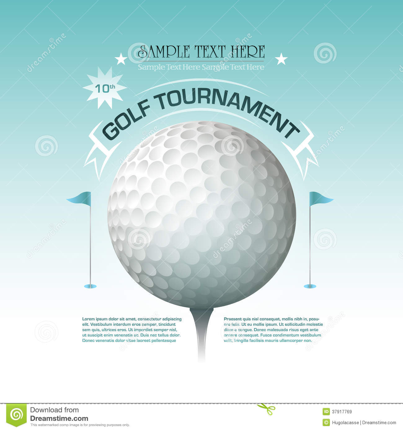 golf tournament invitation banner background stock vector