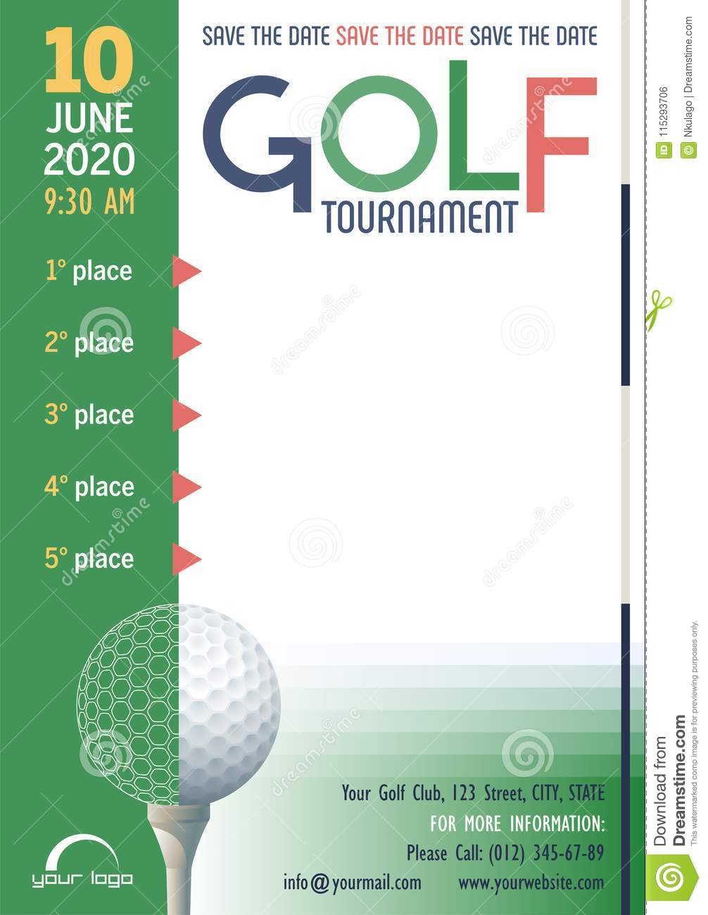 Golf Tournament poster template. Save the Date. Place for your text message.