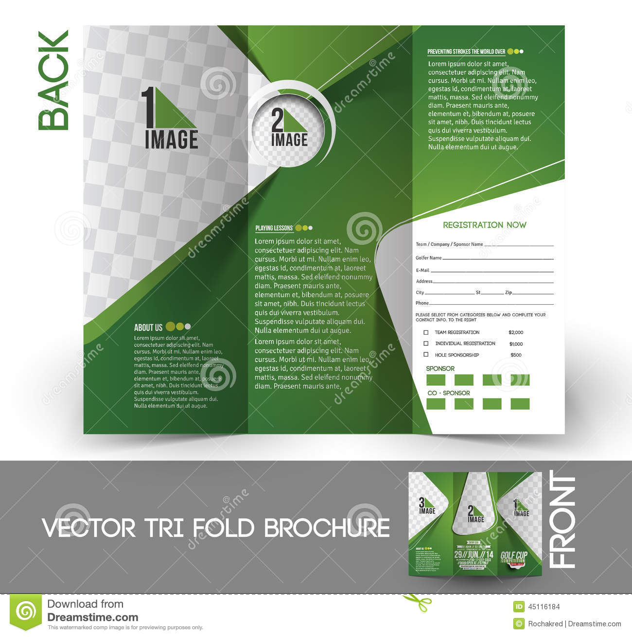 Golf Tournament Tri Fold Brochure Stock Images
