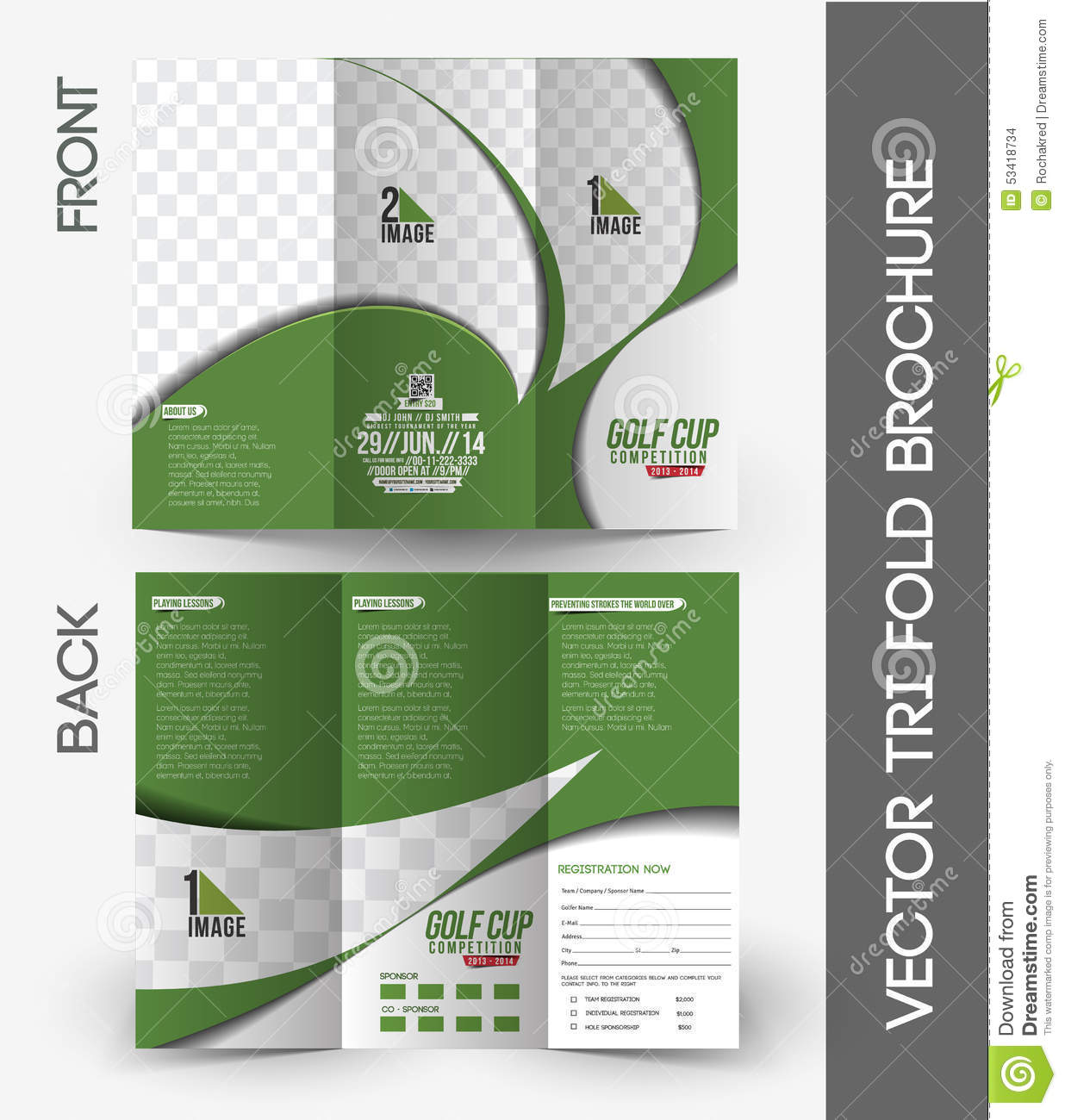 Royalty Free Vector. Download Golf Tournament Tri Fold Brochure ...