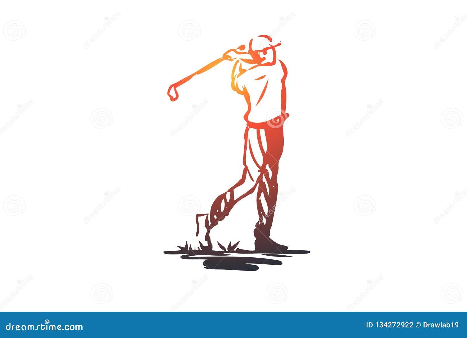 Golf, Turnier, Spiel, Sport, Golfspielerkonzept Hand gezeichneter lokalisierter Vektor