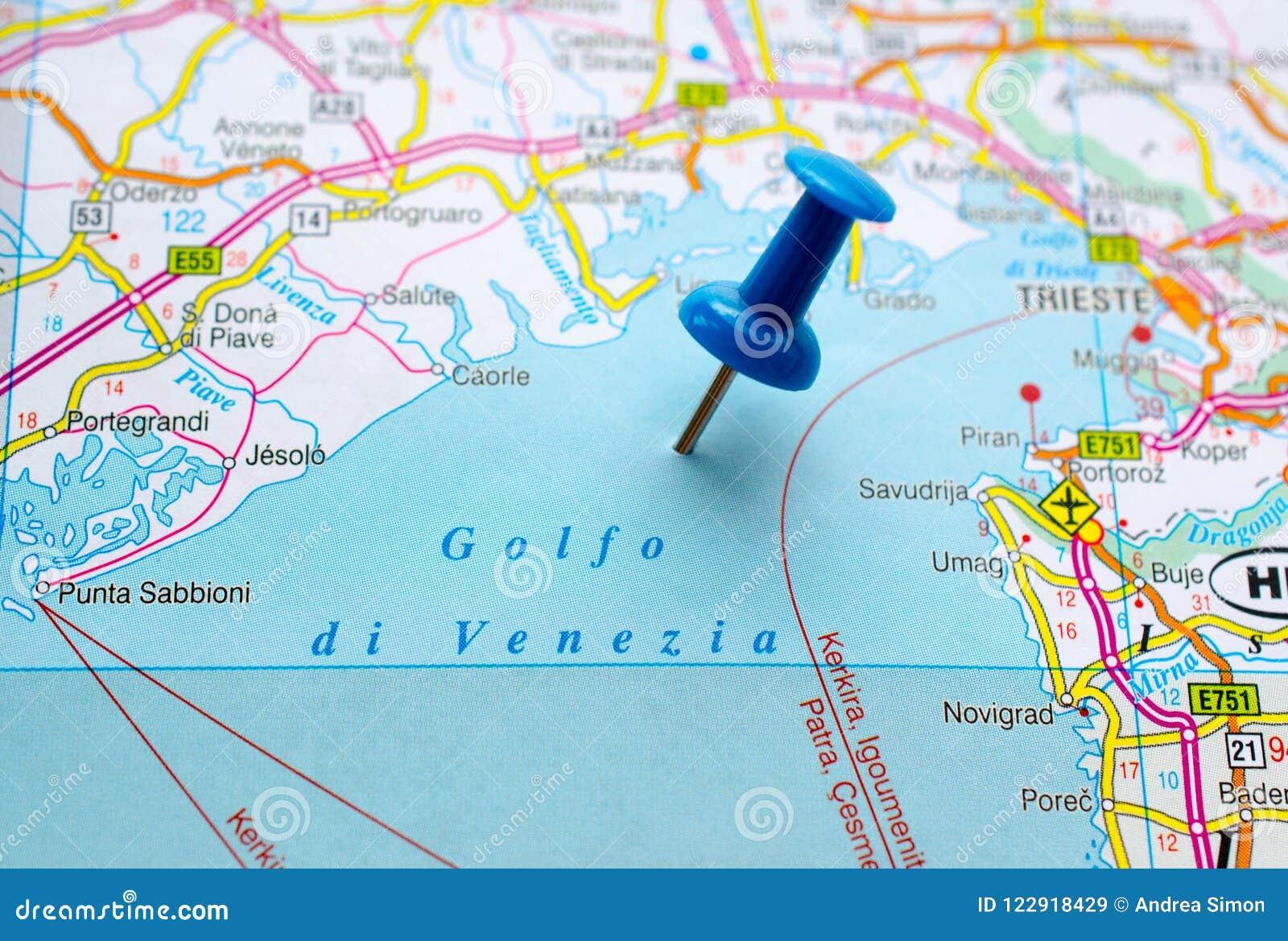 Venedig Karte.Golf Von Venedig Auf Karte Stockbild Bild Von Geographie