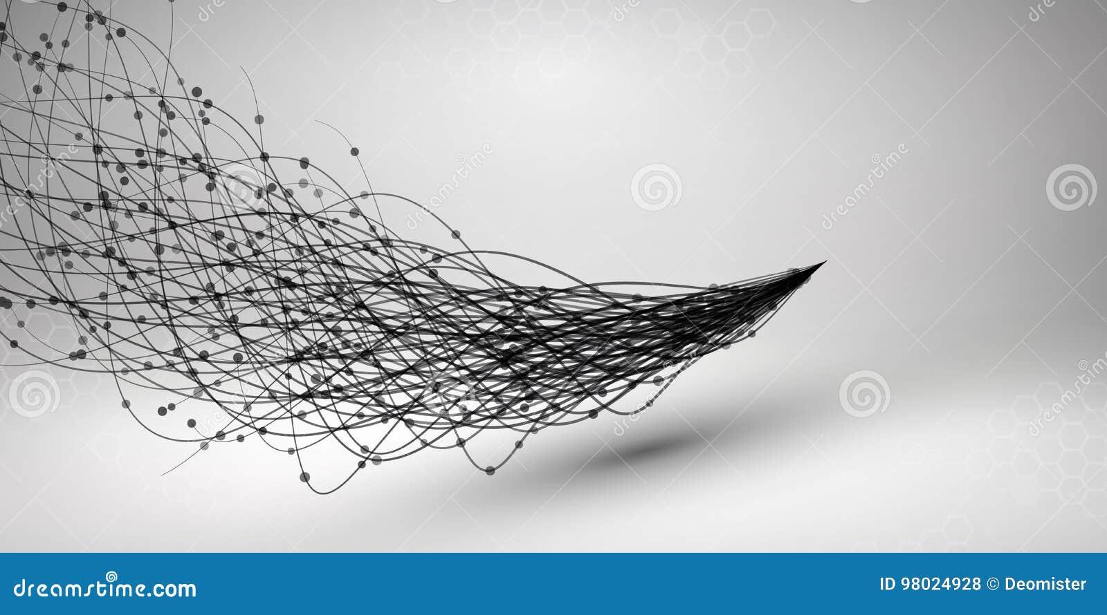 Golf Werveling met verbonden lijn en punten Getelegrafeerde structuur Het concept van de aansluting De achtergrond van de technol