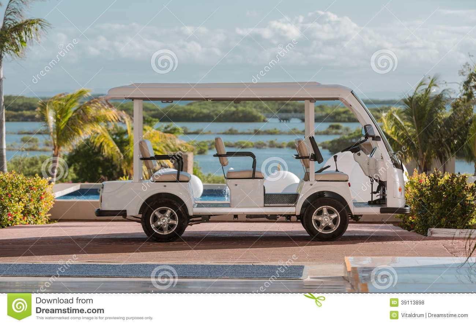 Golfauto tegen tropische achtergrond wordt geparkeerd die
