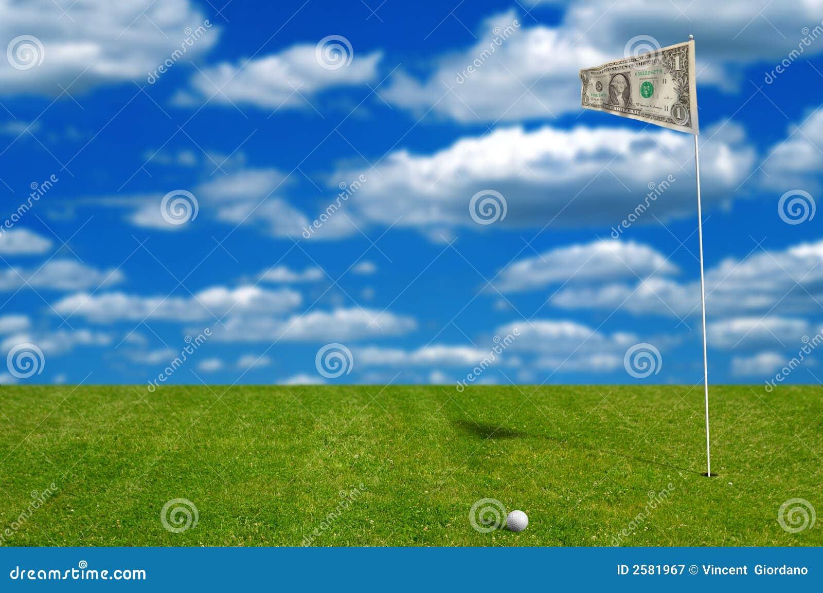 Golfbal met geldvlag