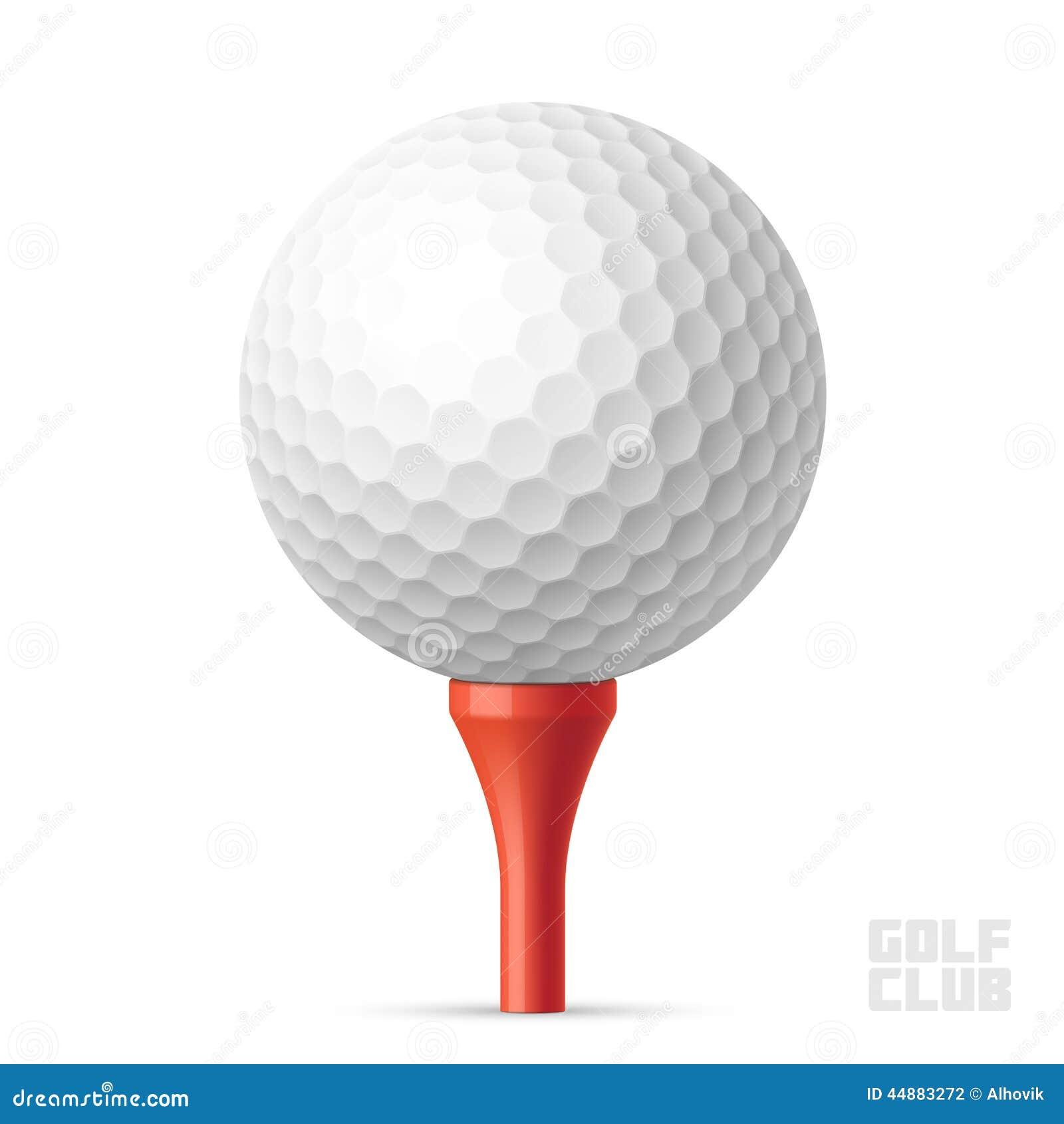 Golfbal op rood T-stuk