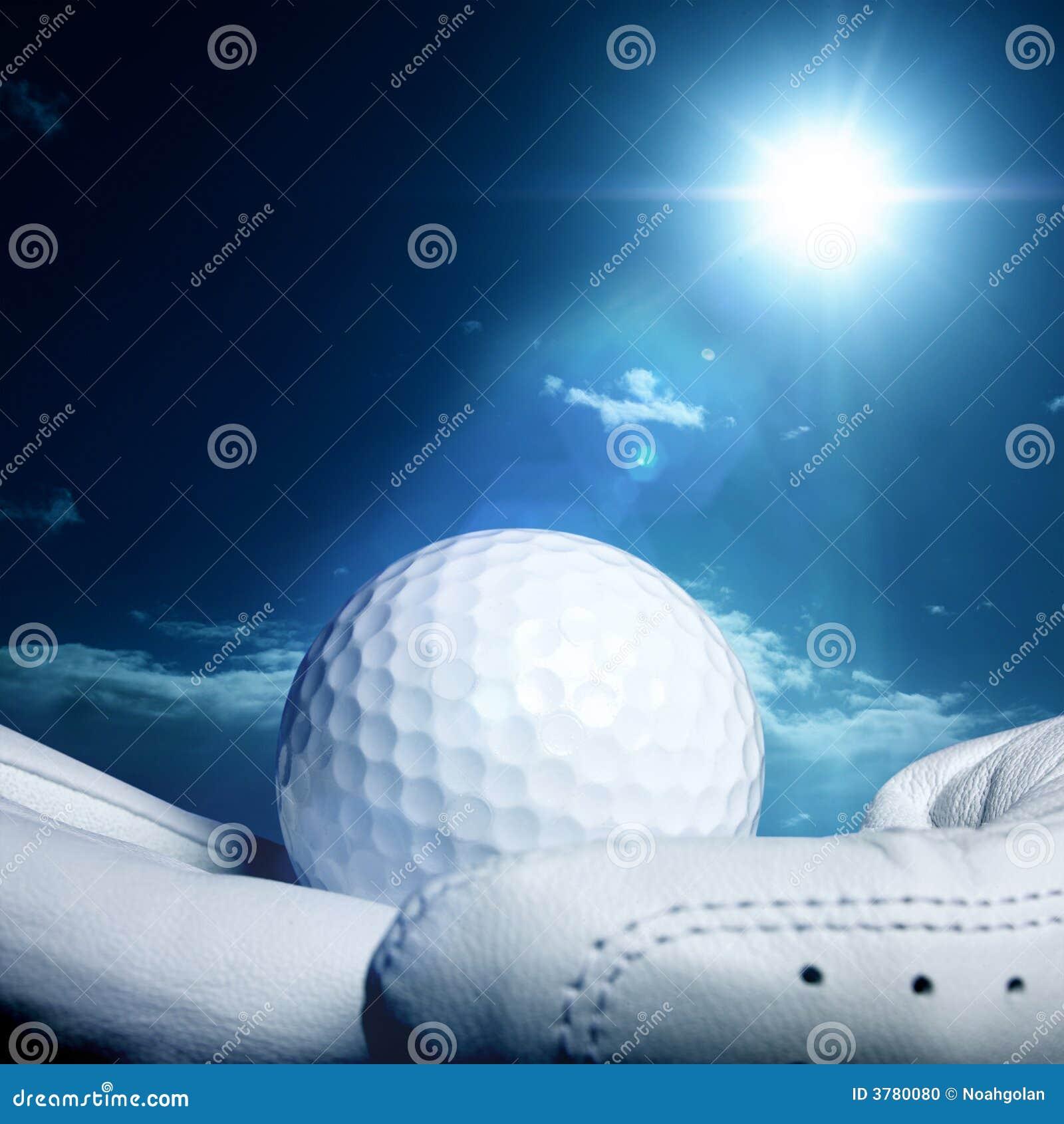 Golfball auf Handschuh