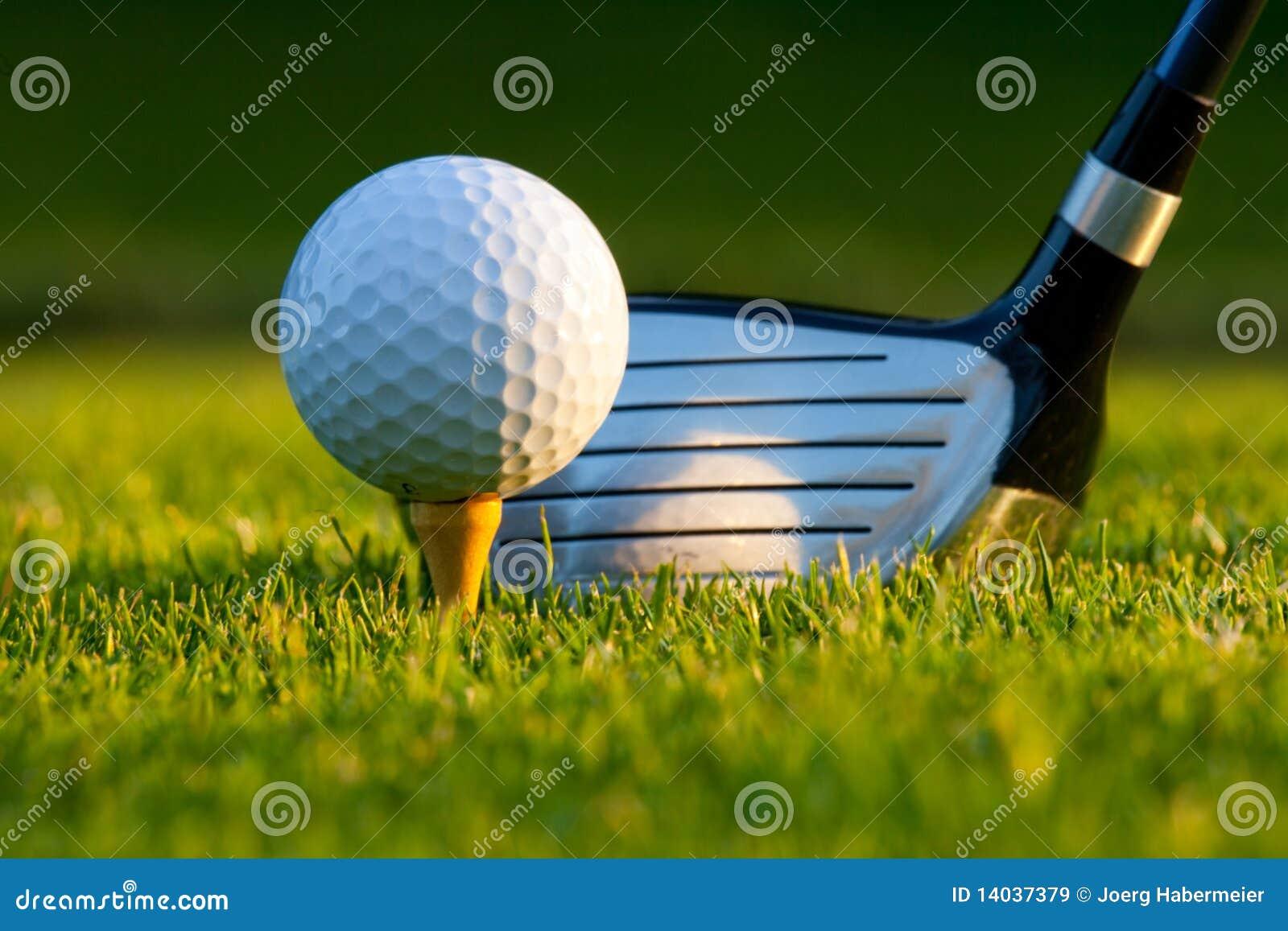 Golfball und Treiber auf Golfplatz