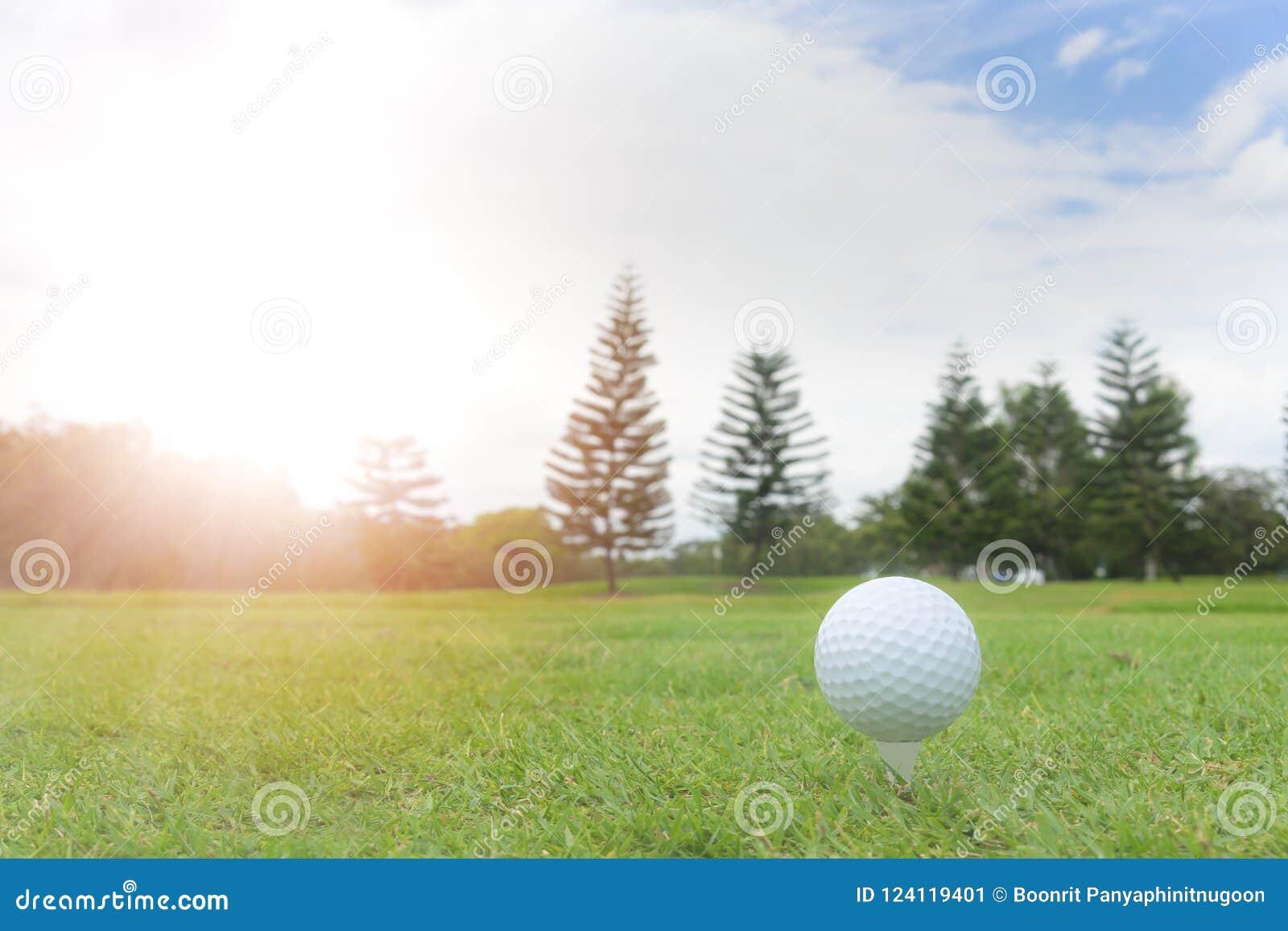 Golfbegrepp: Golfboll på golfbanan, en golfballset upp för