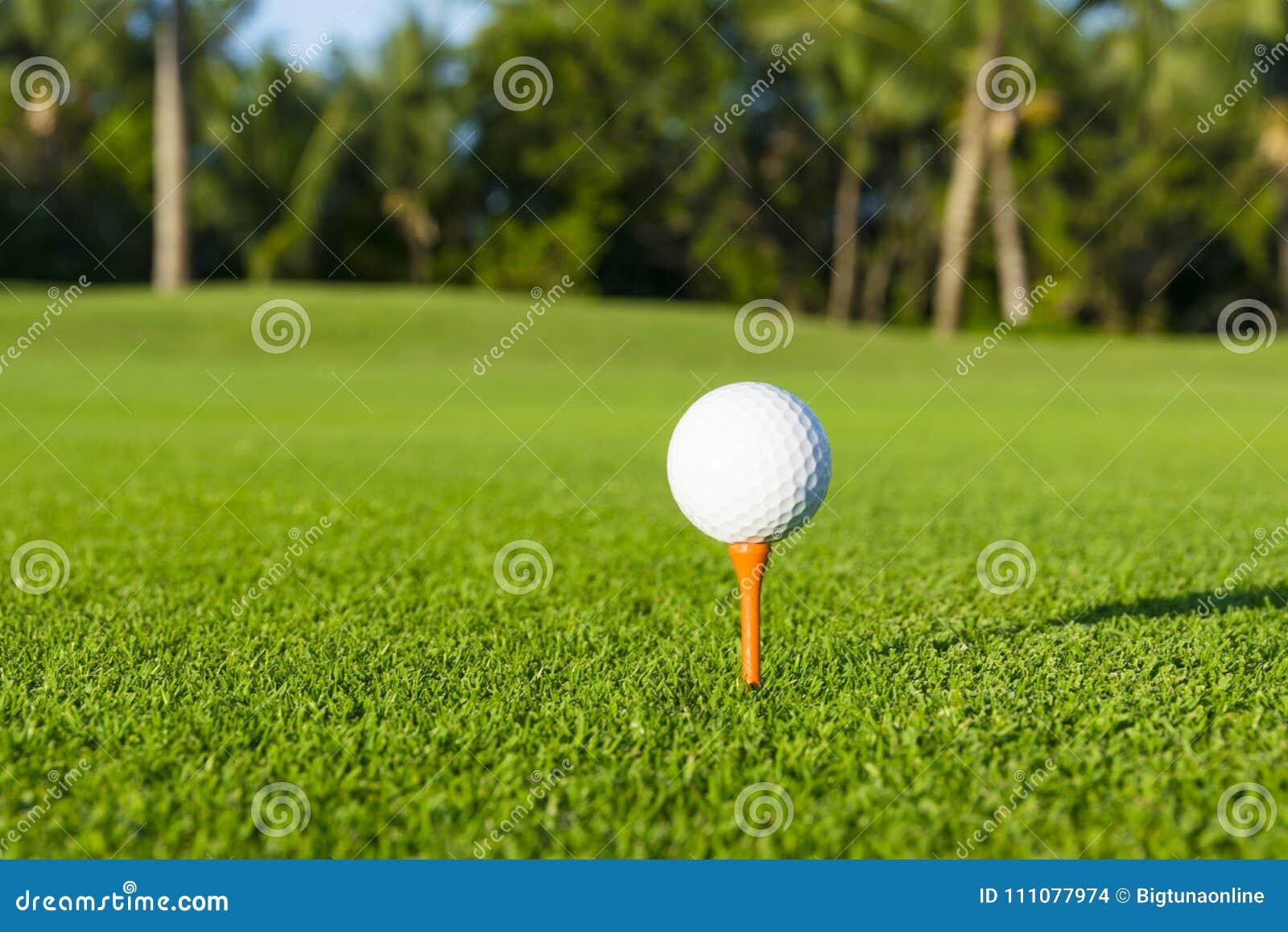 Golfboll på utslagsplats på golfbana över ett suddigt grönt fält