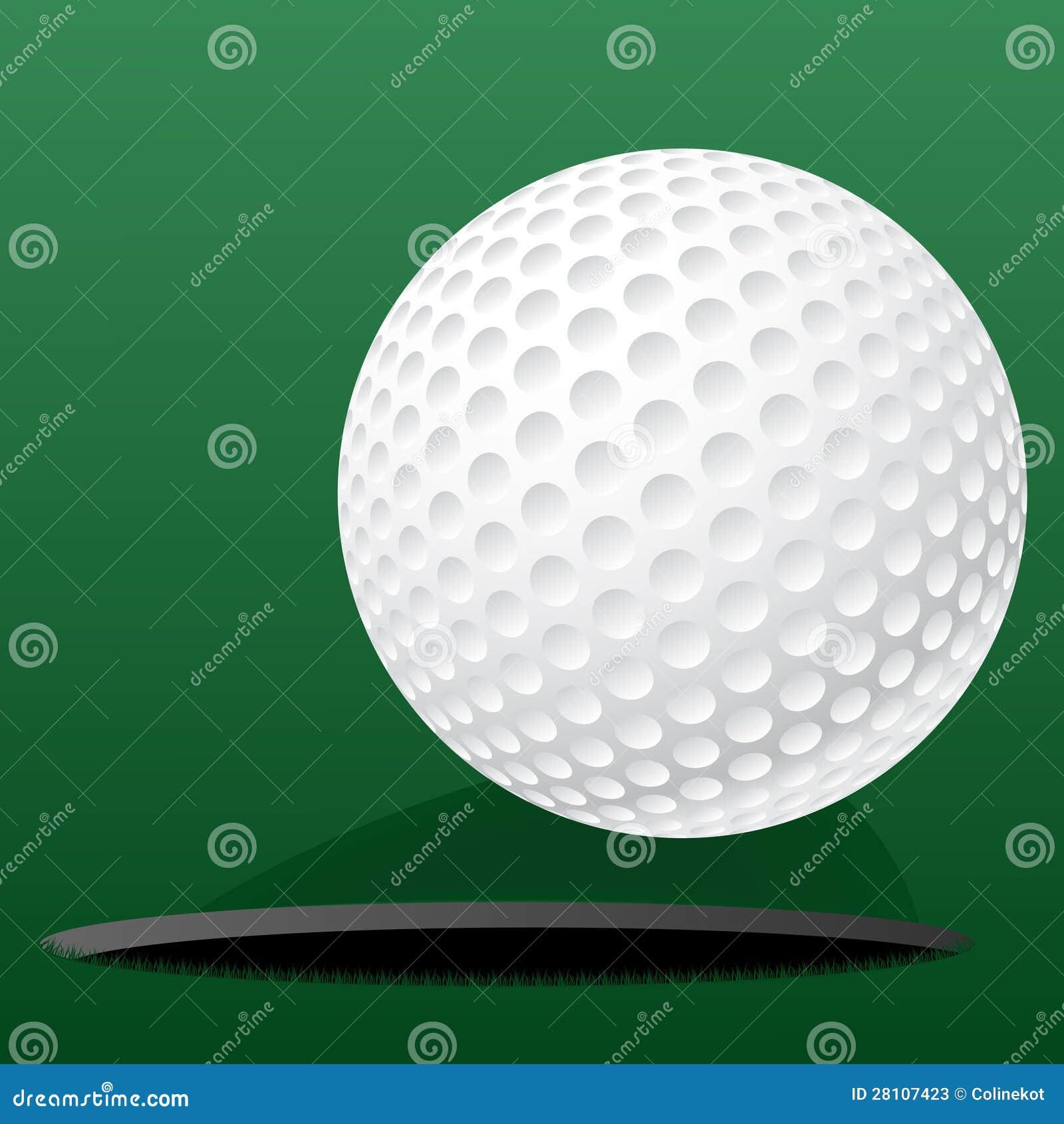 Golfboll som är rullande in i spela golfboll i hål