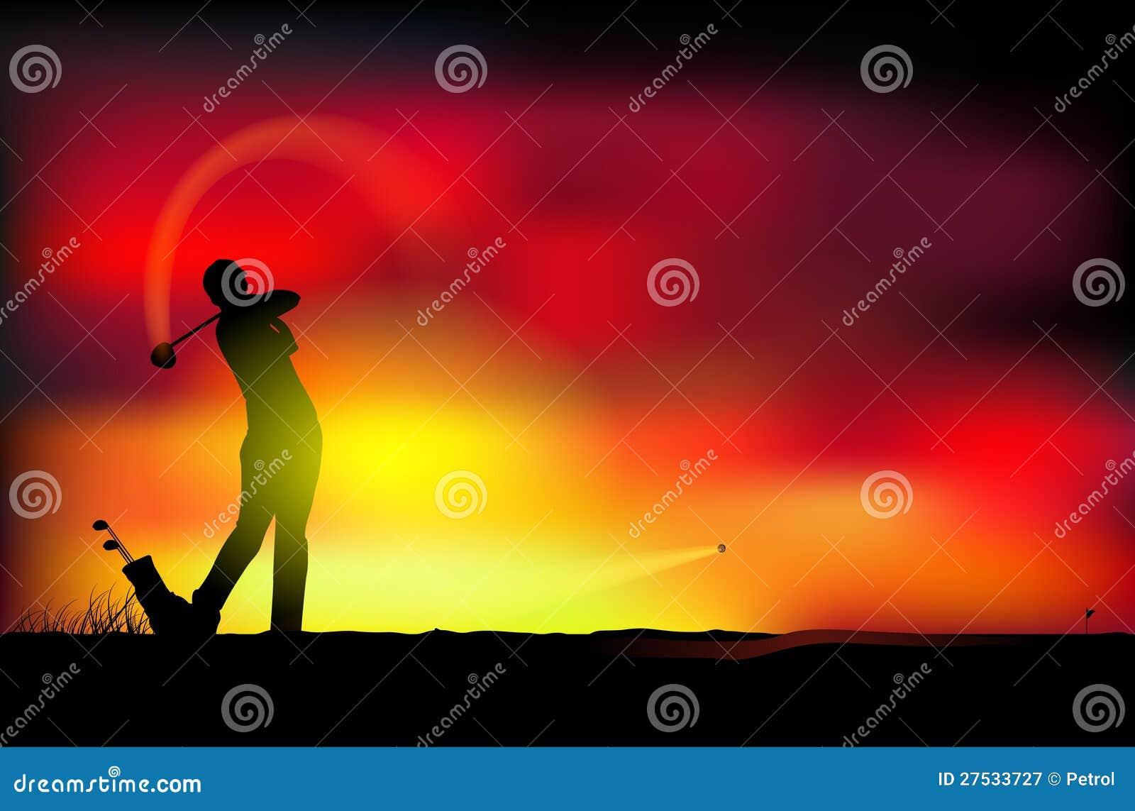 Golfe no por do sol