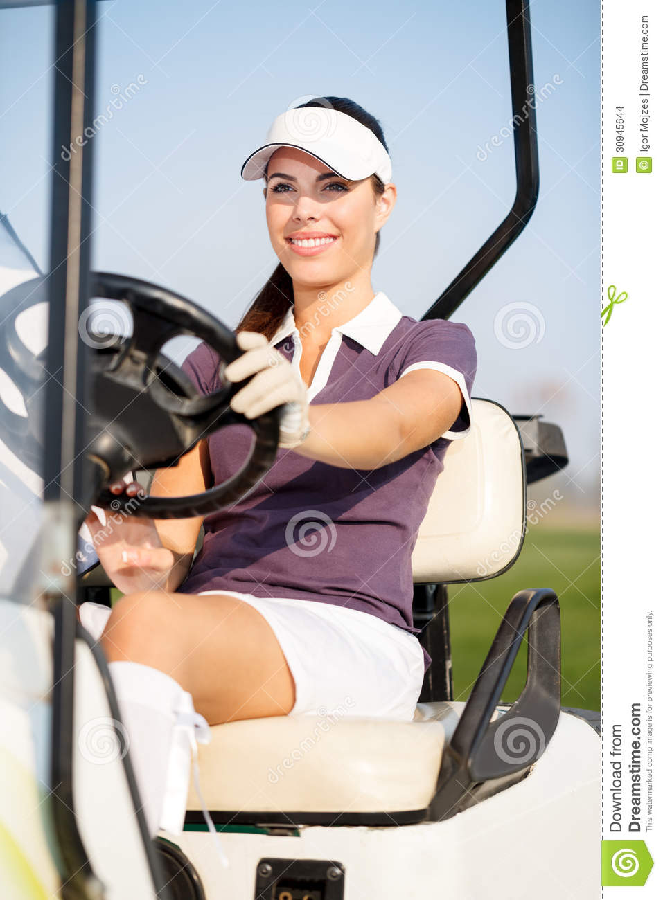 Golfer In Golf Cart Stock Images Image 30945644
