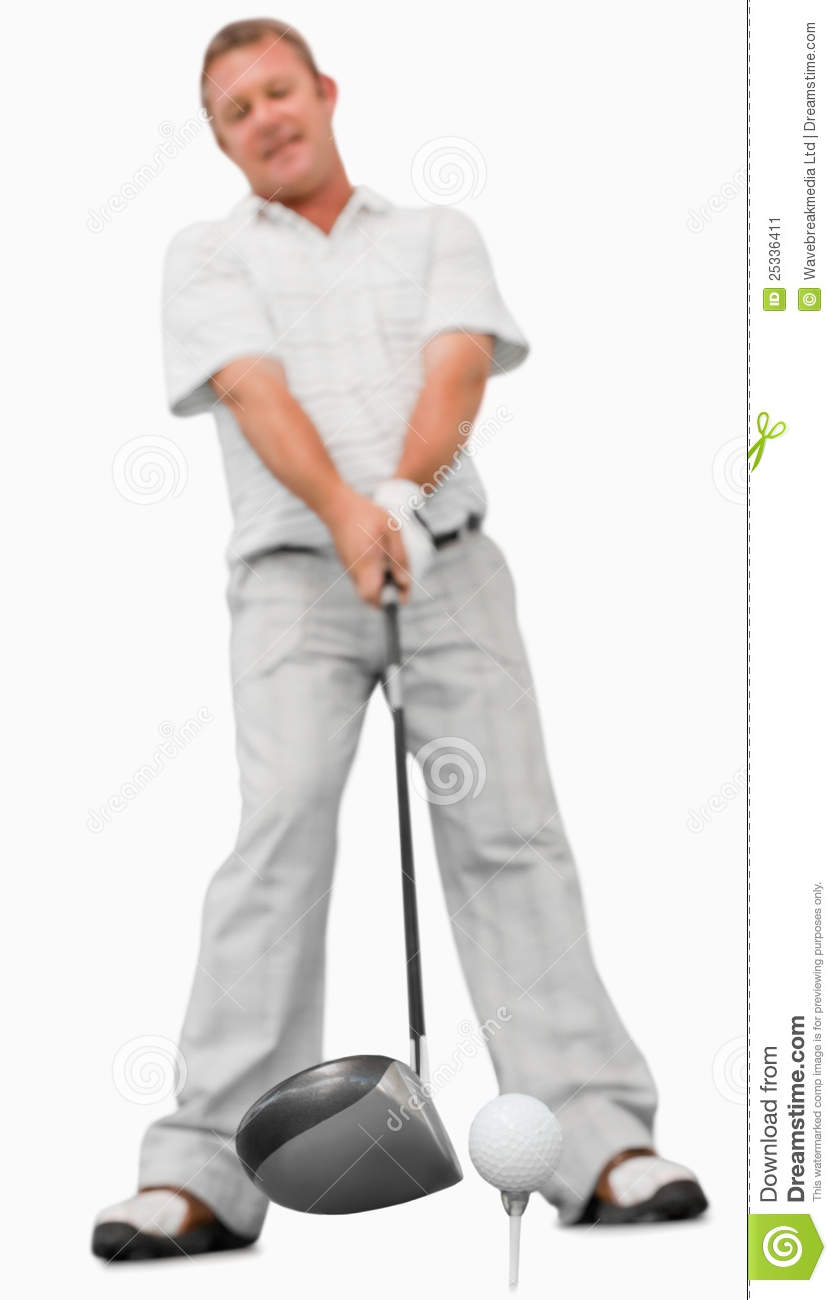 Golfer about to swing