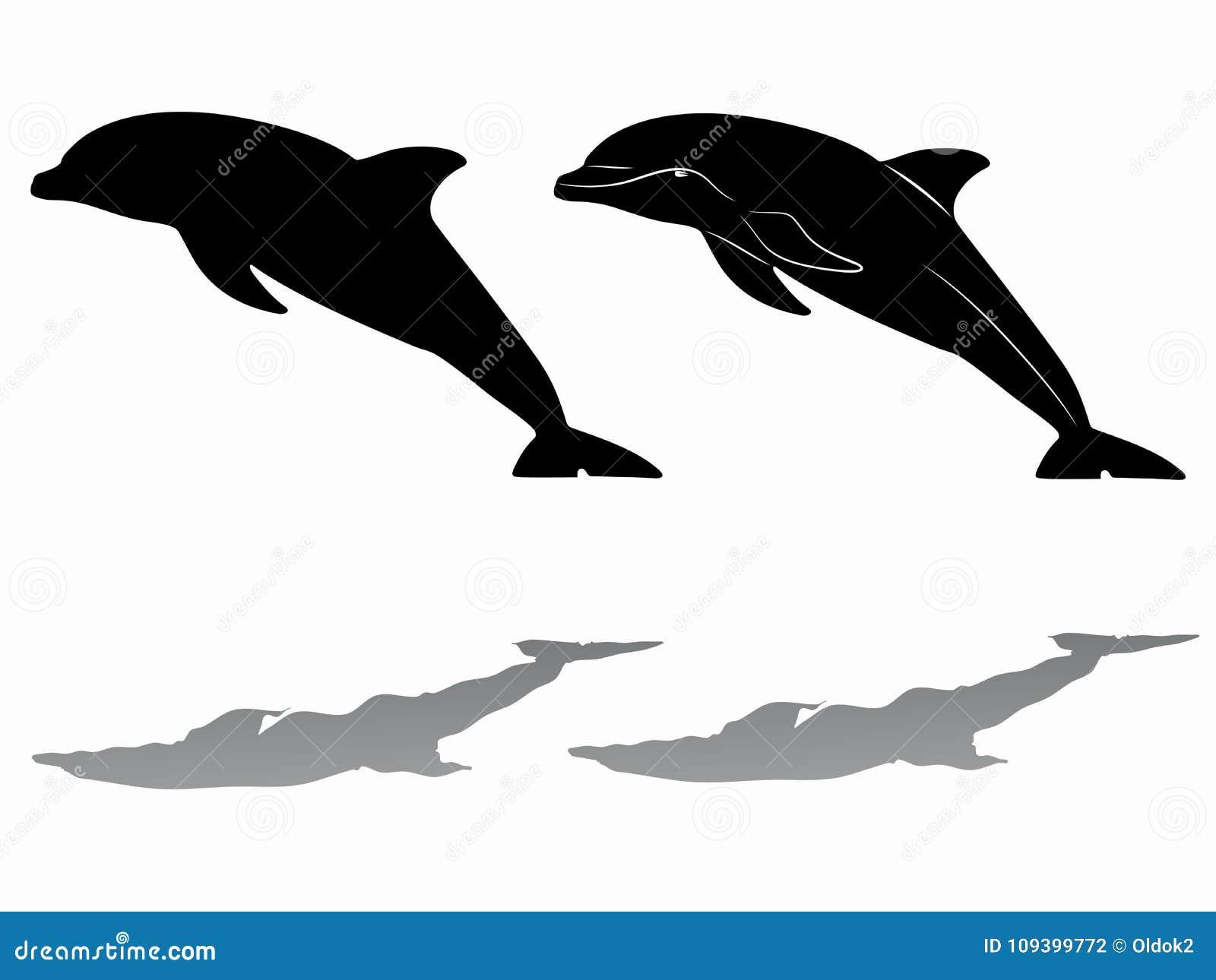 golfinho da silhueta tração do vetor ilustração do vetor