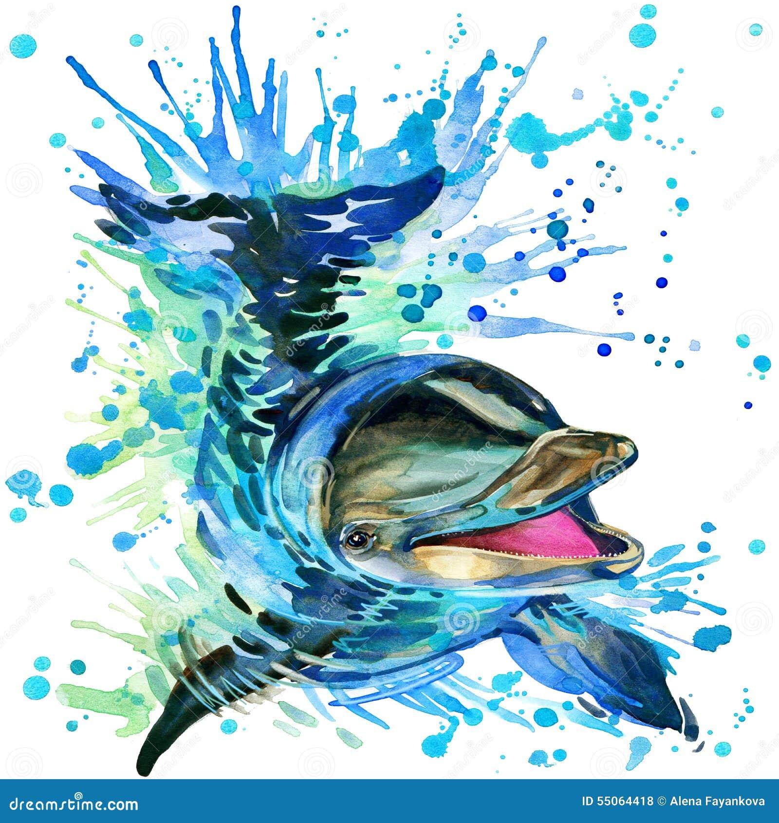 Golfinho engraçado com o respingo da aquarela textured